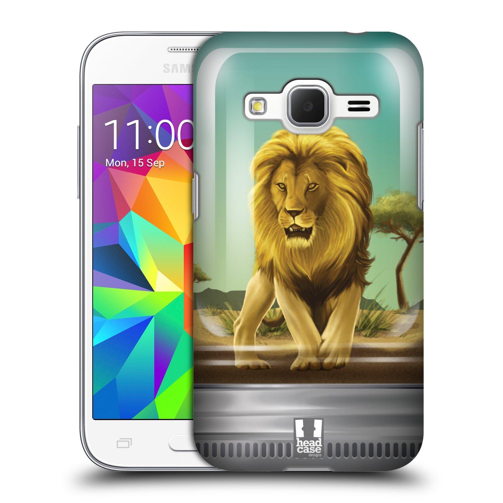 HEAD CASE plastový obal na mobil SAMSUNG GALAXY Core Prime (Core Prime VE) vzor Zvířátka v těžítku lev