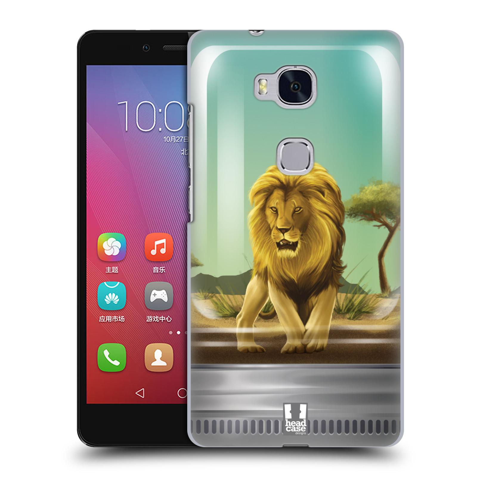 HEAD CASE pevný plastový obal na mobil HUAWEI HONOR 5X vzor Zvířátka v těžítku lev