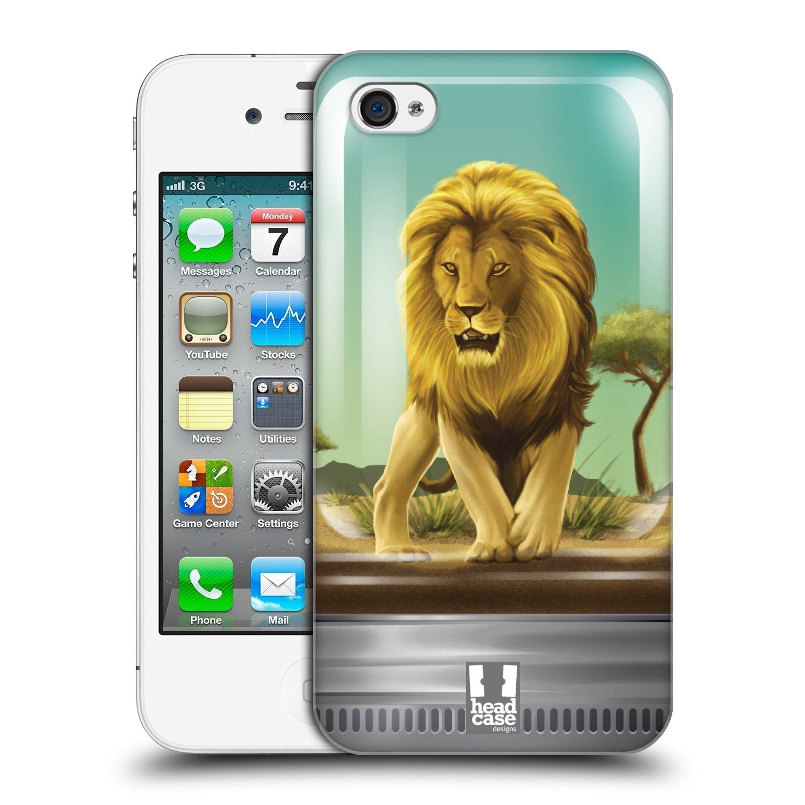 HEAD CASE plastový obal na mobil Apple Iphone 4/4S vzor Zvířátka v těžítku lev