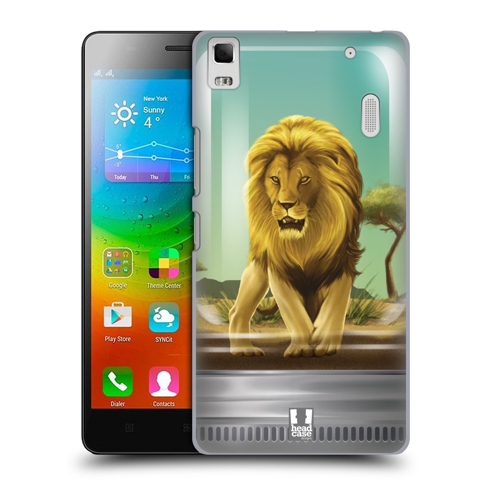 HEAD CASE pevný plastový obal na mobil LENOVO A7000 / A7000 DUAL / K3 NOTE vzor Zvířátka v těžítku lev