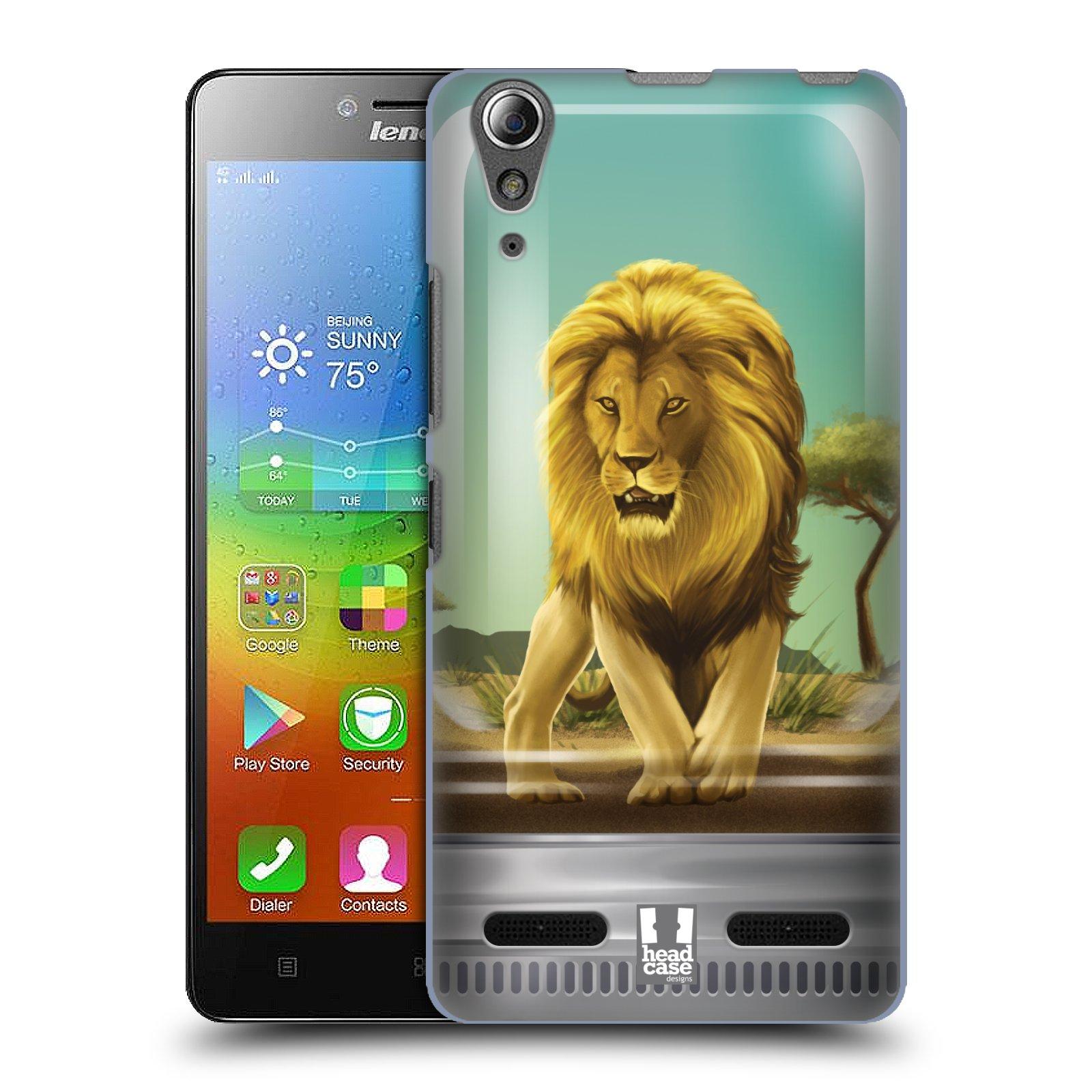 HEAD CASE pevný plastový obal na mobil LENOVO A6000 / A6000 PLUS vzor Zvířátka v těžítku lev