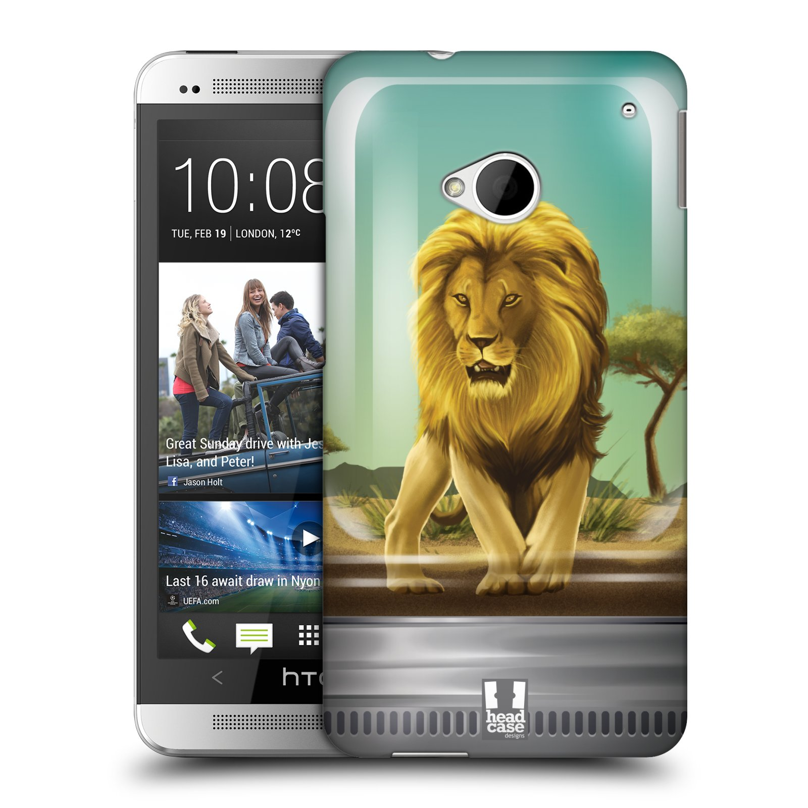 HEAD CASE plastový obal na mobil HTC One (M7) vzor Zvířátka v těžítku lev