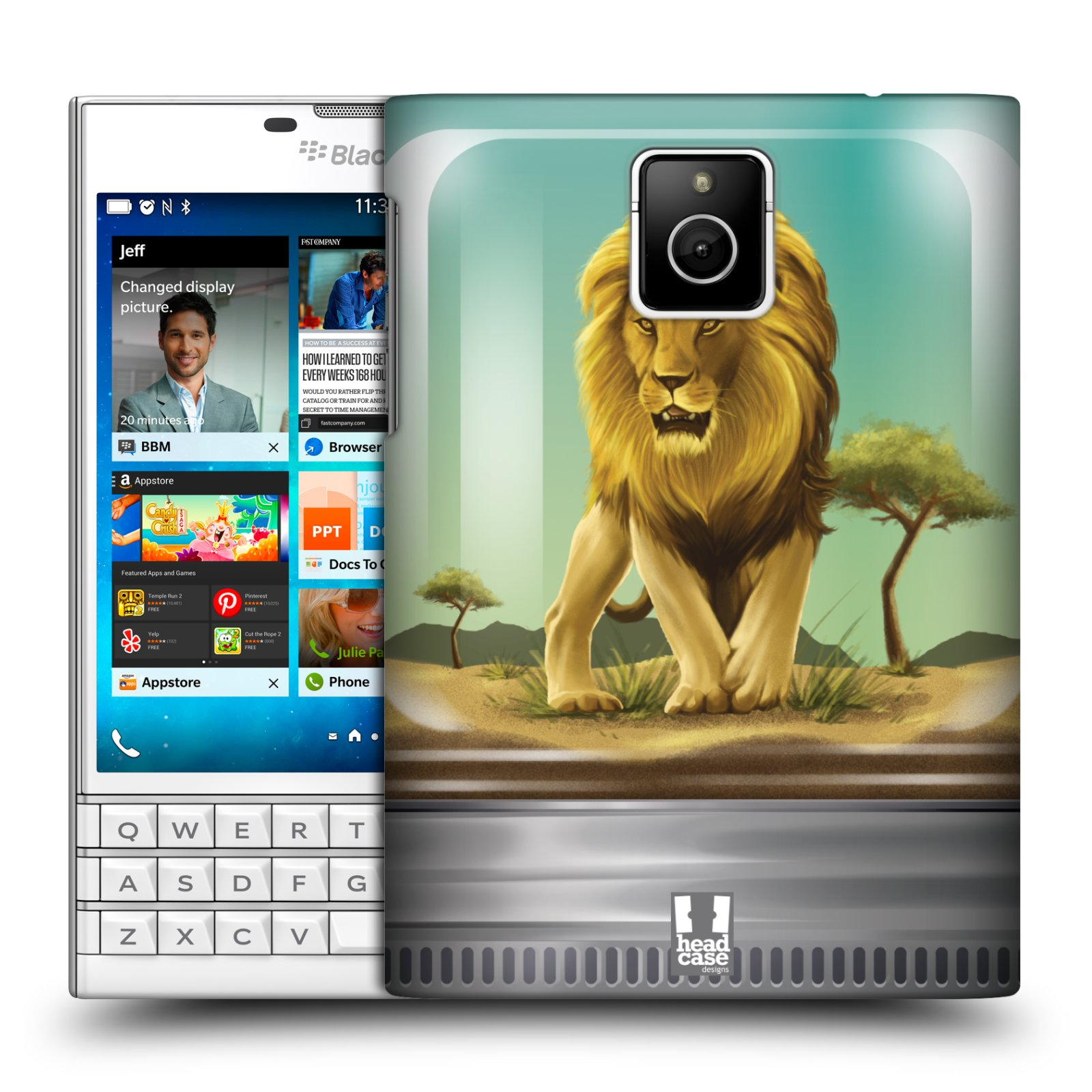 HEAD CASE plastový obal na mobil BlackBerry Passport vzor Zvířátka v těžítku lev