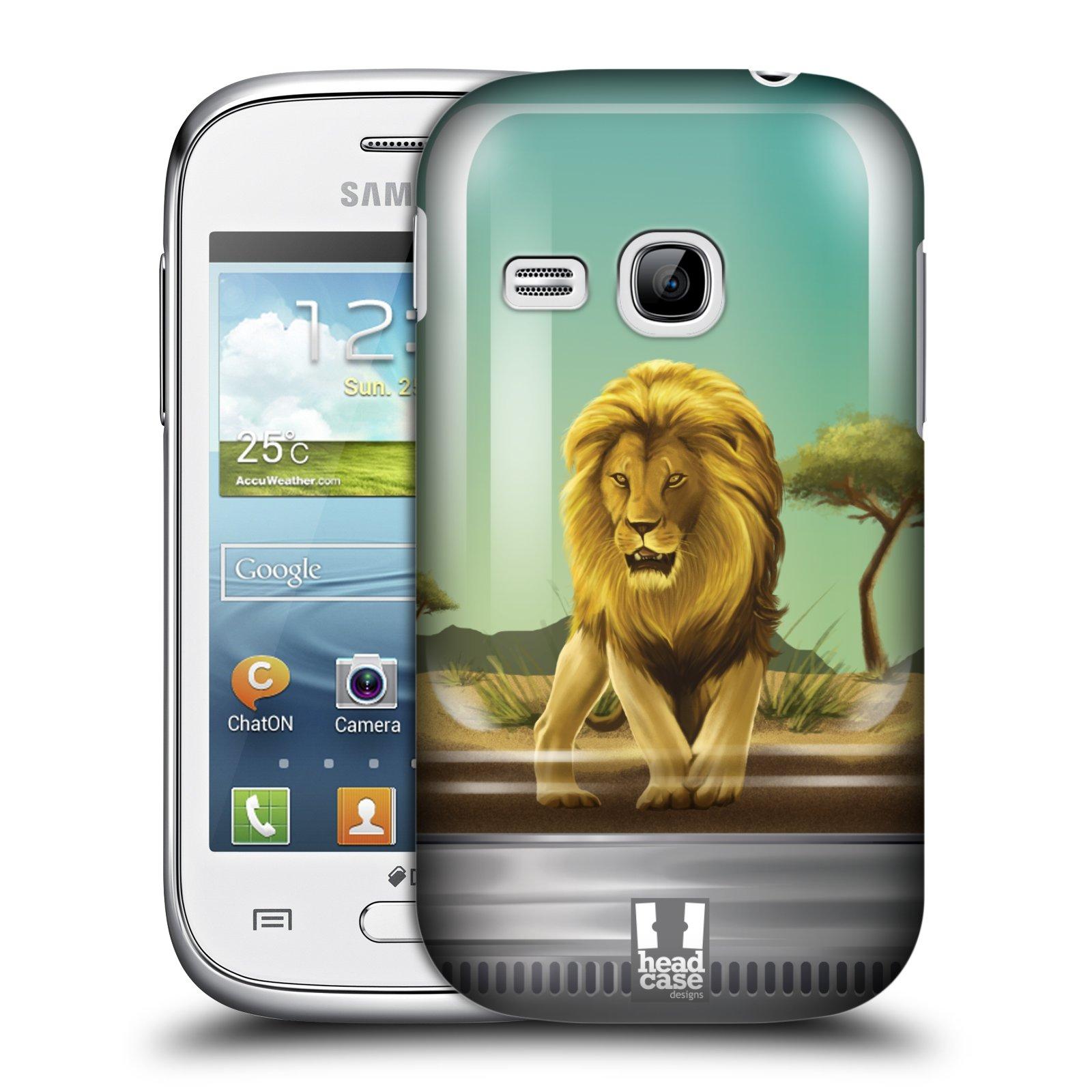 HEAD CASE plastový obal na mobil SAMSUNG Galaxy Young S6310 vzor Zvířátka v těžítku lev