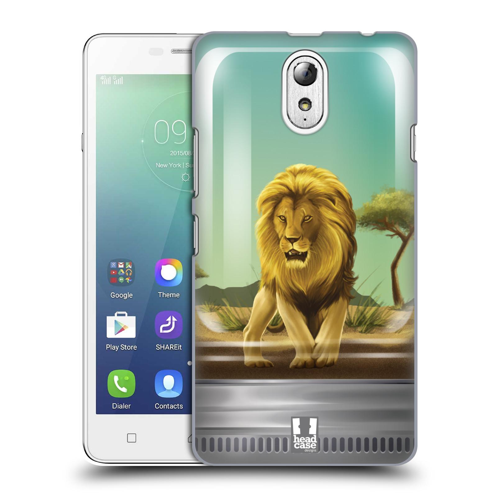 HEAD CASE pevný plastový obal na mobil LENOVO VIBE P1m / LENOVO VIBE p1m DUAL SIM vzor Zvířátka v těžítku lev