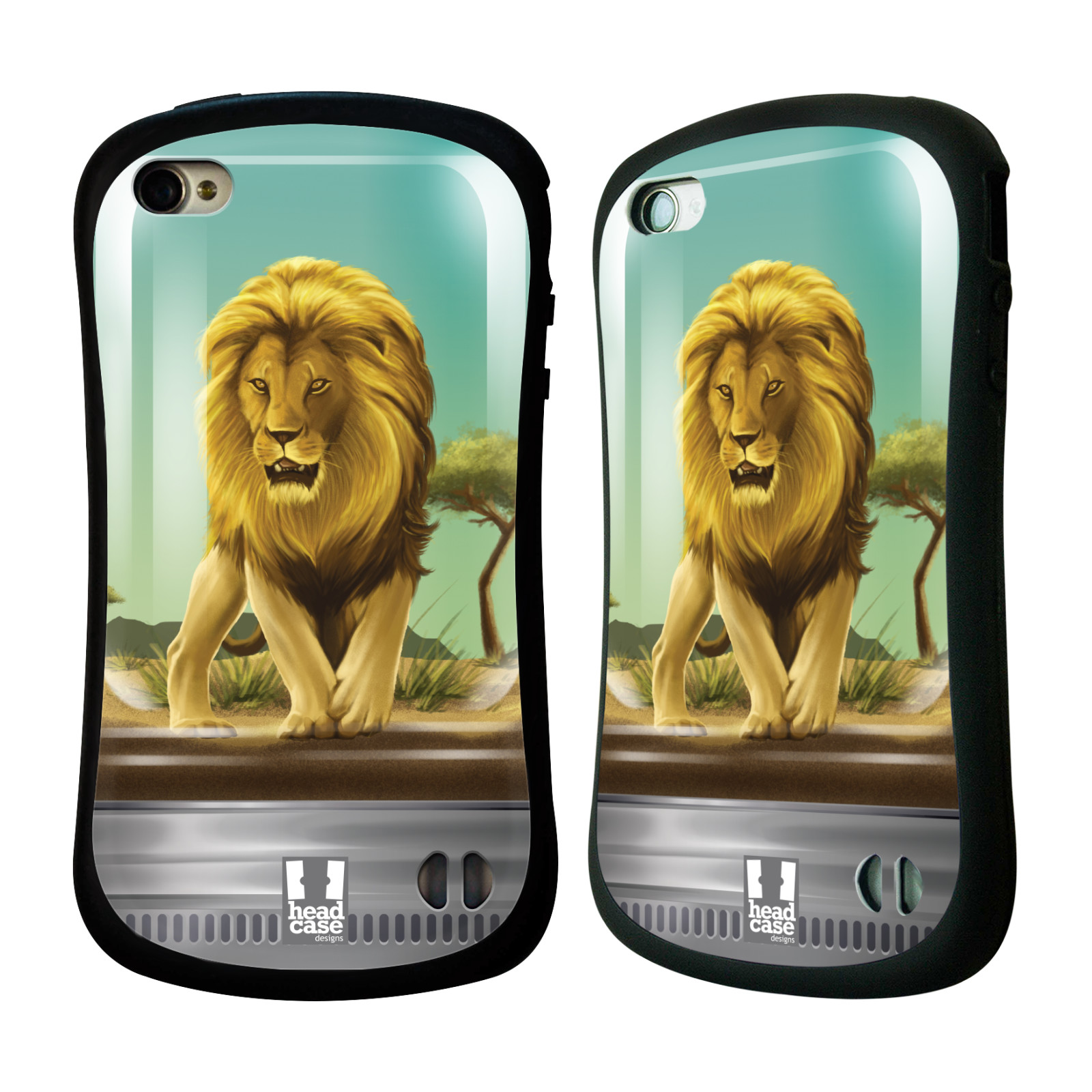 HEAD CASE silikon/plast odolný obal na mobil Apple Iphone 4/4S vzor Zvířátka v těžítku lev