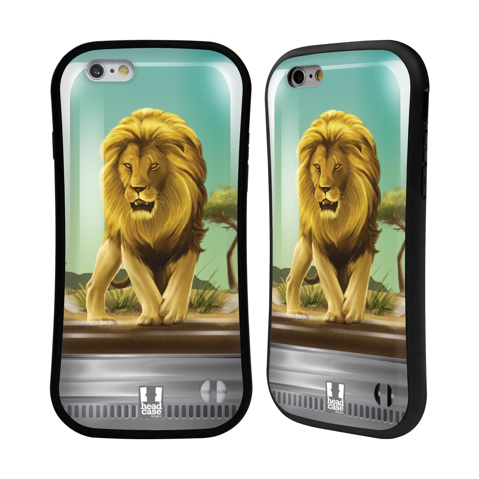 HEAD CASE silikon/plast odolný obal na mobil Apple Iphone 6/6S vzor Zvířátka v těžítku lev