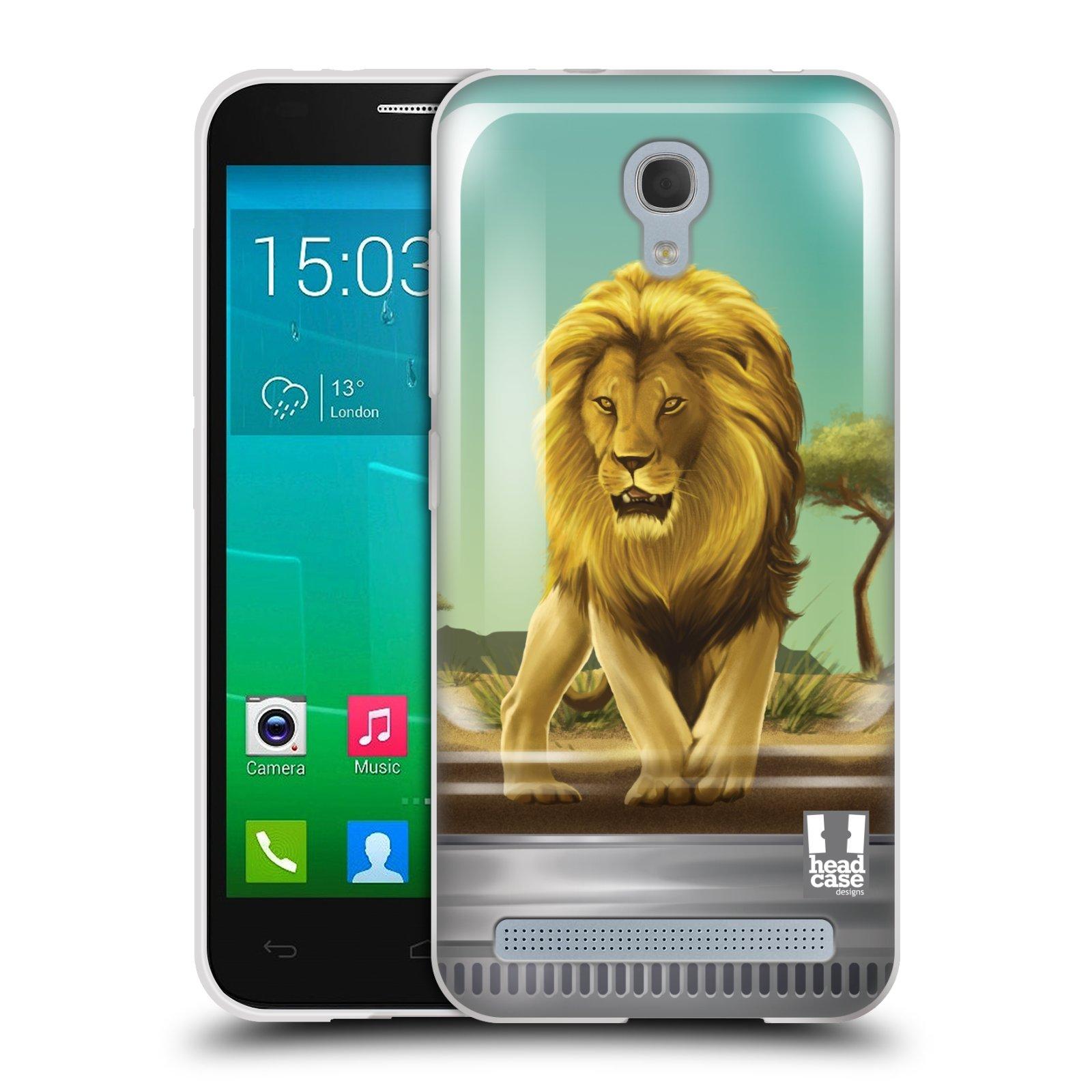 HEAD CASE silikonový obal na mobil Alcatel Idol 2 MINI S 6036Y vzor Zvířátka v těžítku lev