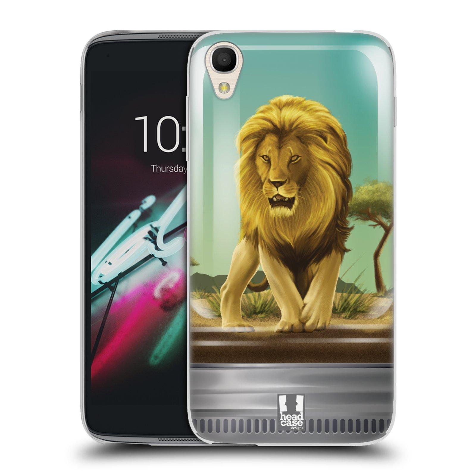 HEAD CASE silikonový obal na mobil Alcatel Idol 3 OT-6039Y (4.7) vzor Zvířátka v těžítku lev