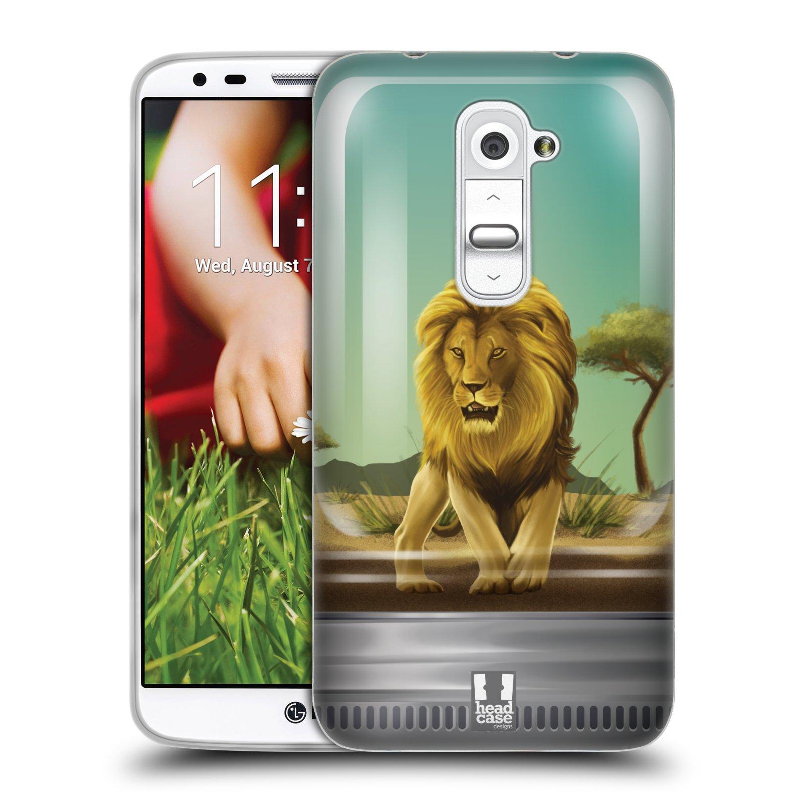 HEAD CASE silikonový obal na mobil LG G2 vzor Zvířátka v těžítku lev