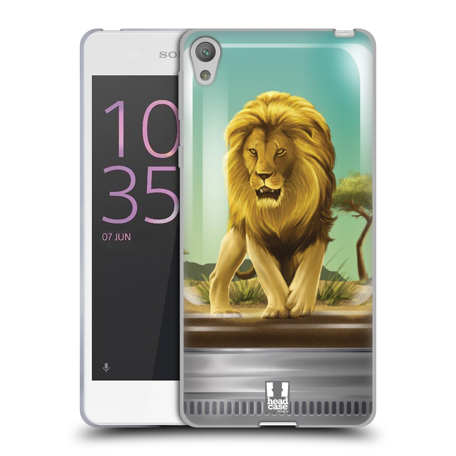 HEAD CASE silikonový obal na mobil SONY XPERIA E5 vzor Zvířátka v těžítku lev