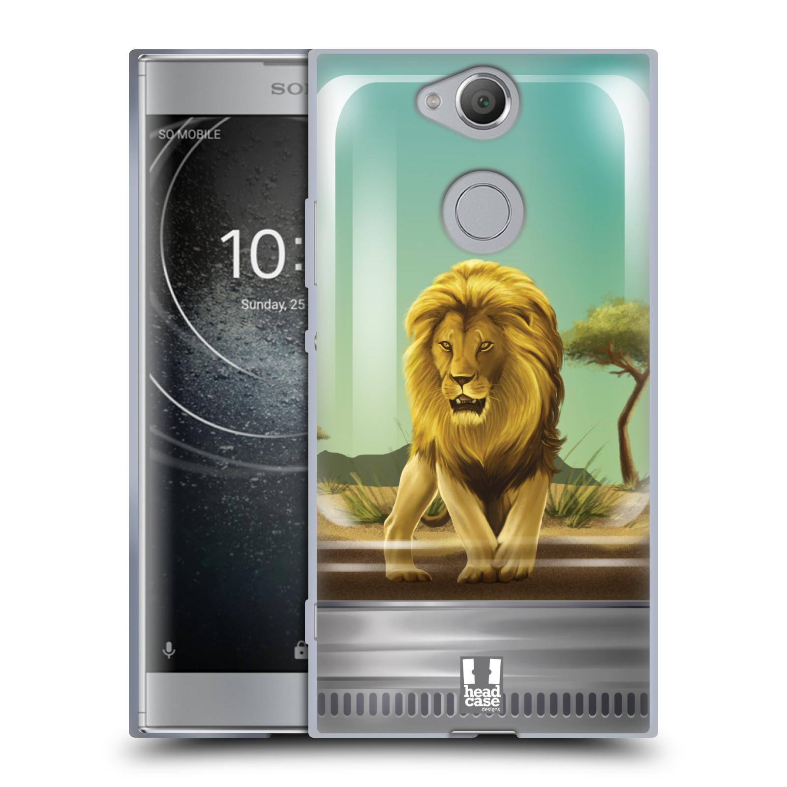 Pouzdro na mobil Sony Xperia XA2 (DUAL SIM, SINGLE SIM) vzor Zvířátka v těžítku lev