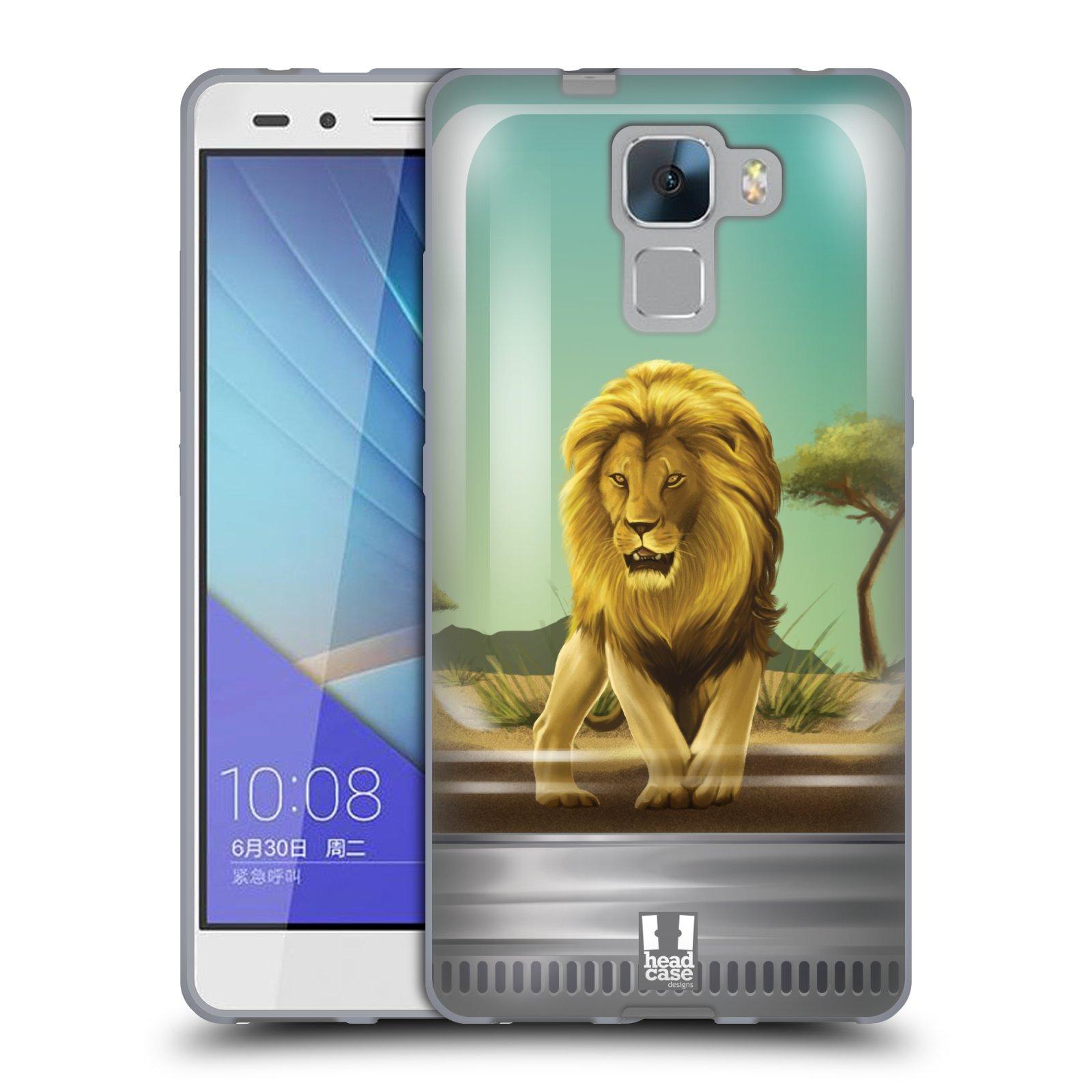HEAD CASE silikonový obal na mobil HUAWEI HONOR 7 vzor Zvířátka v těžítku lev