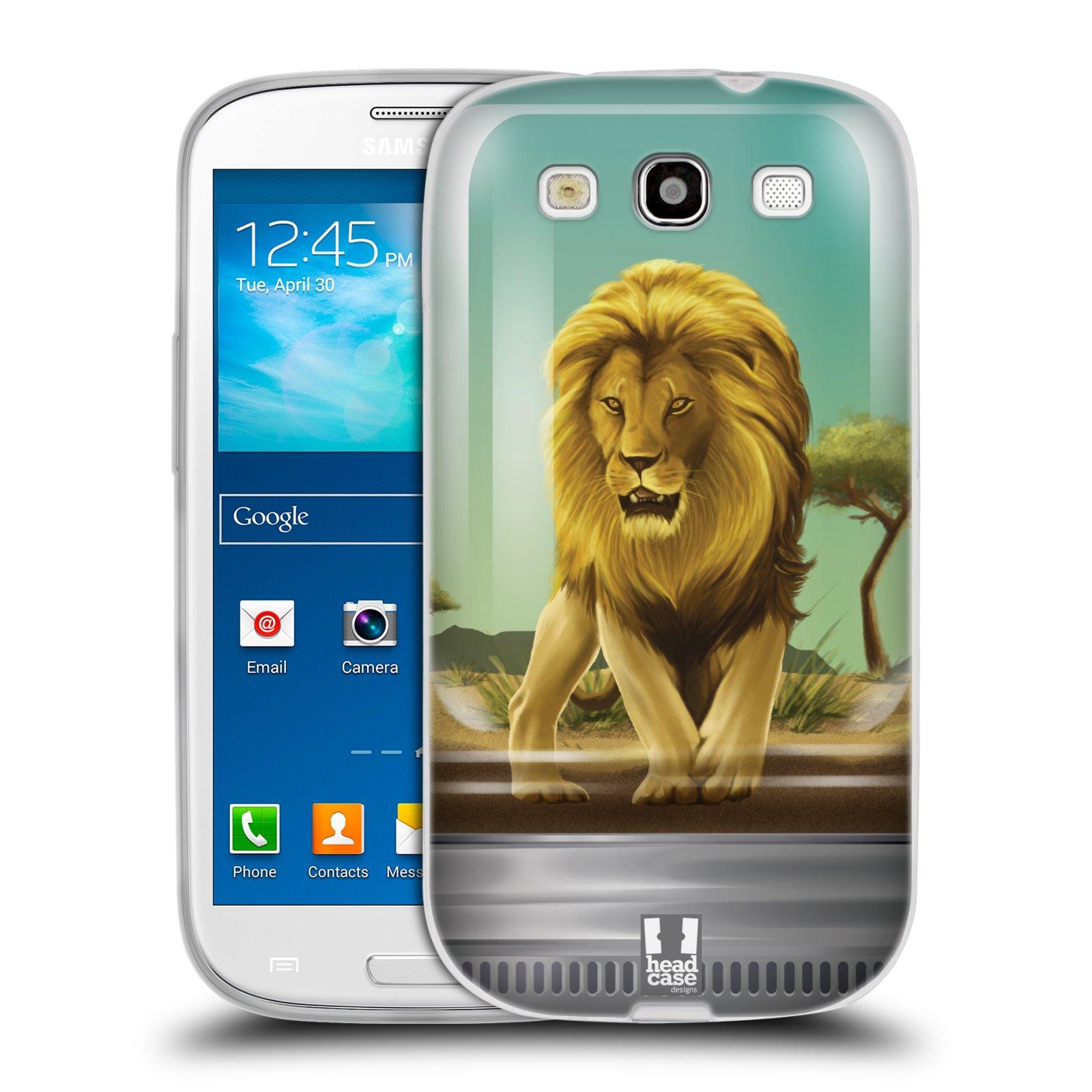 HEAD CASE silikonový obal na mobil Samsung Galaxy S3 i9300 vzor Zvířátka v těžítku lev