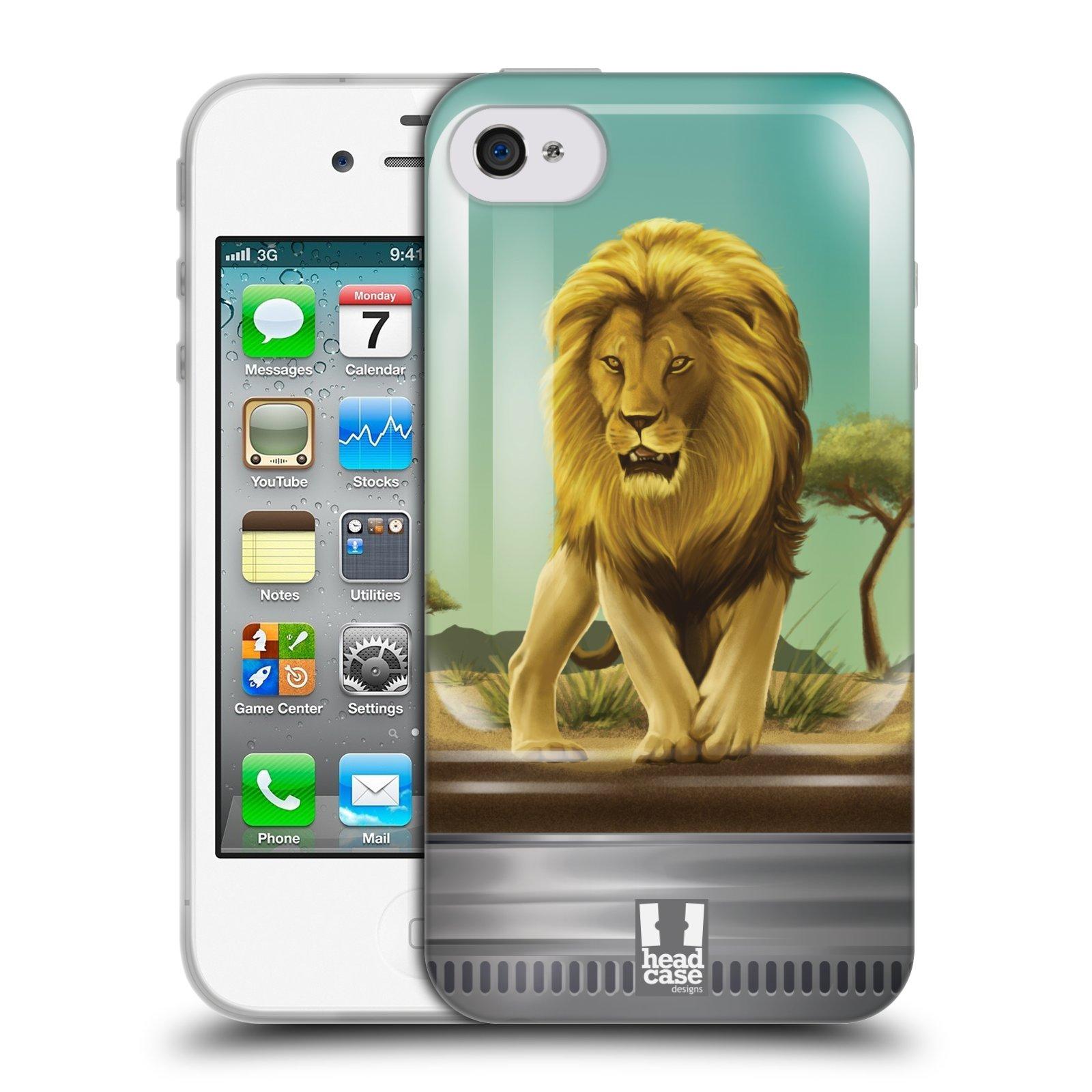 HEAD CASE silikonový obal na mobil Apple Iphone 4/4S vzor Zvířátka v těžítku lev