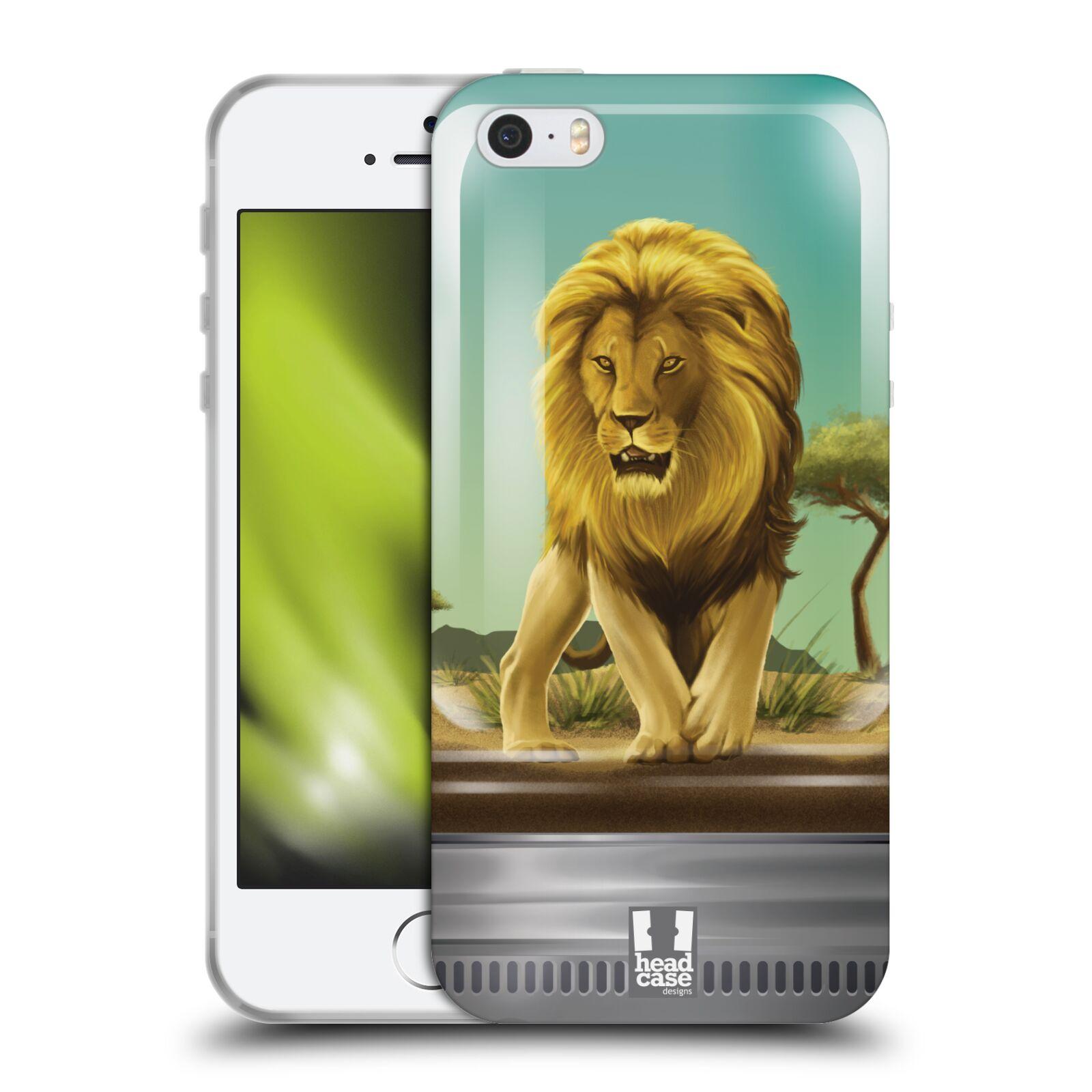 HEAD CASE silikonový obal na mobil Apple Iphone 5/5S vzor Zvířátka v těžítku lev