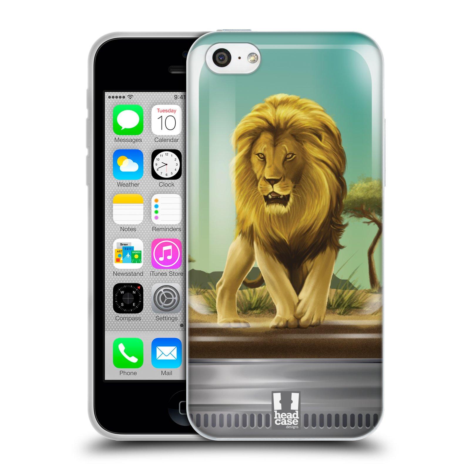 HEAD CASE silikonový obal na mobil Apple Iphone 5C vzor Zvířátka v těžítku lev