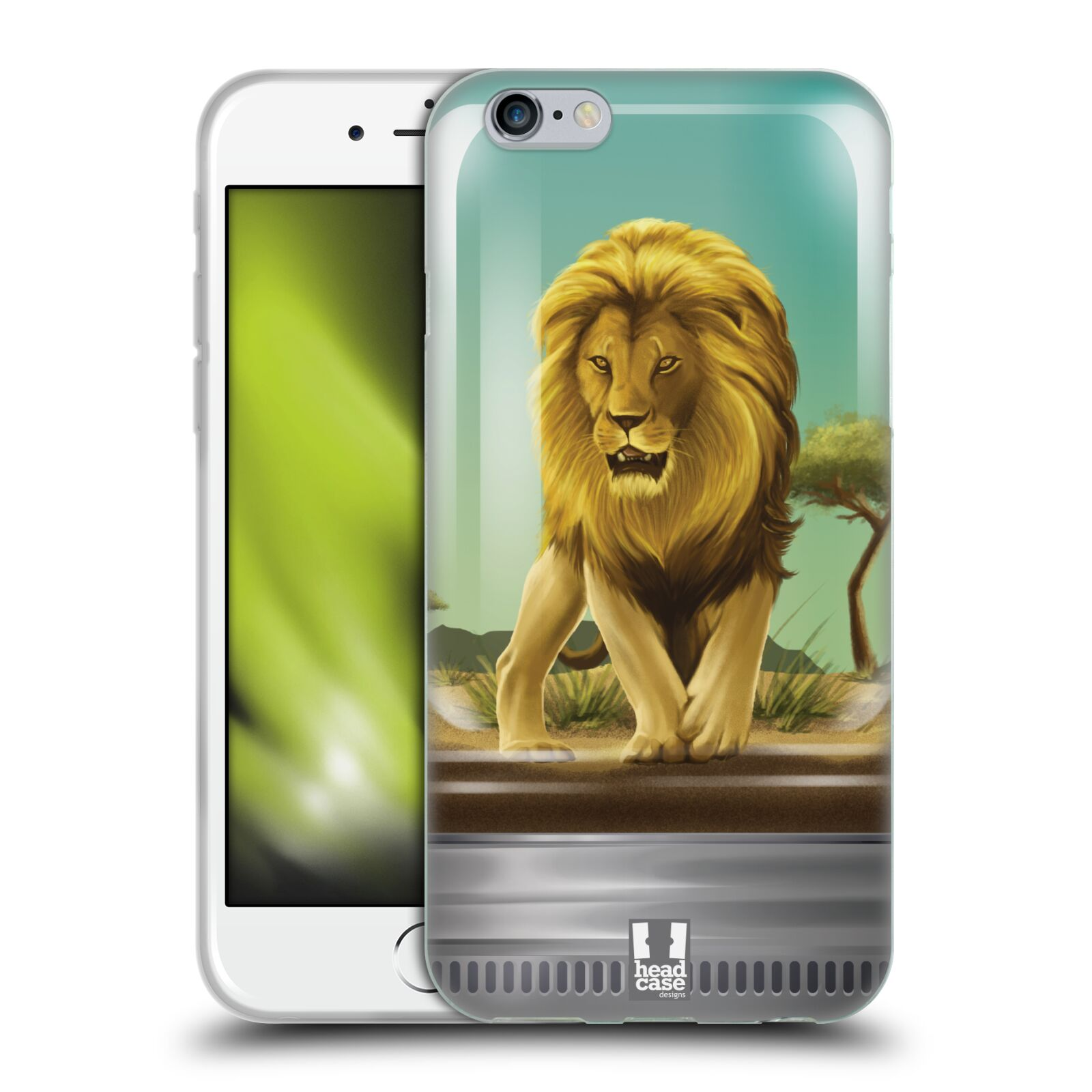 HEAD CASE silikonový obal na mobil Apple Iphone 6/6S vzor Zvířátka v těžítku lev