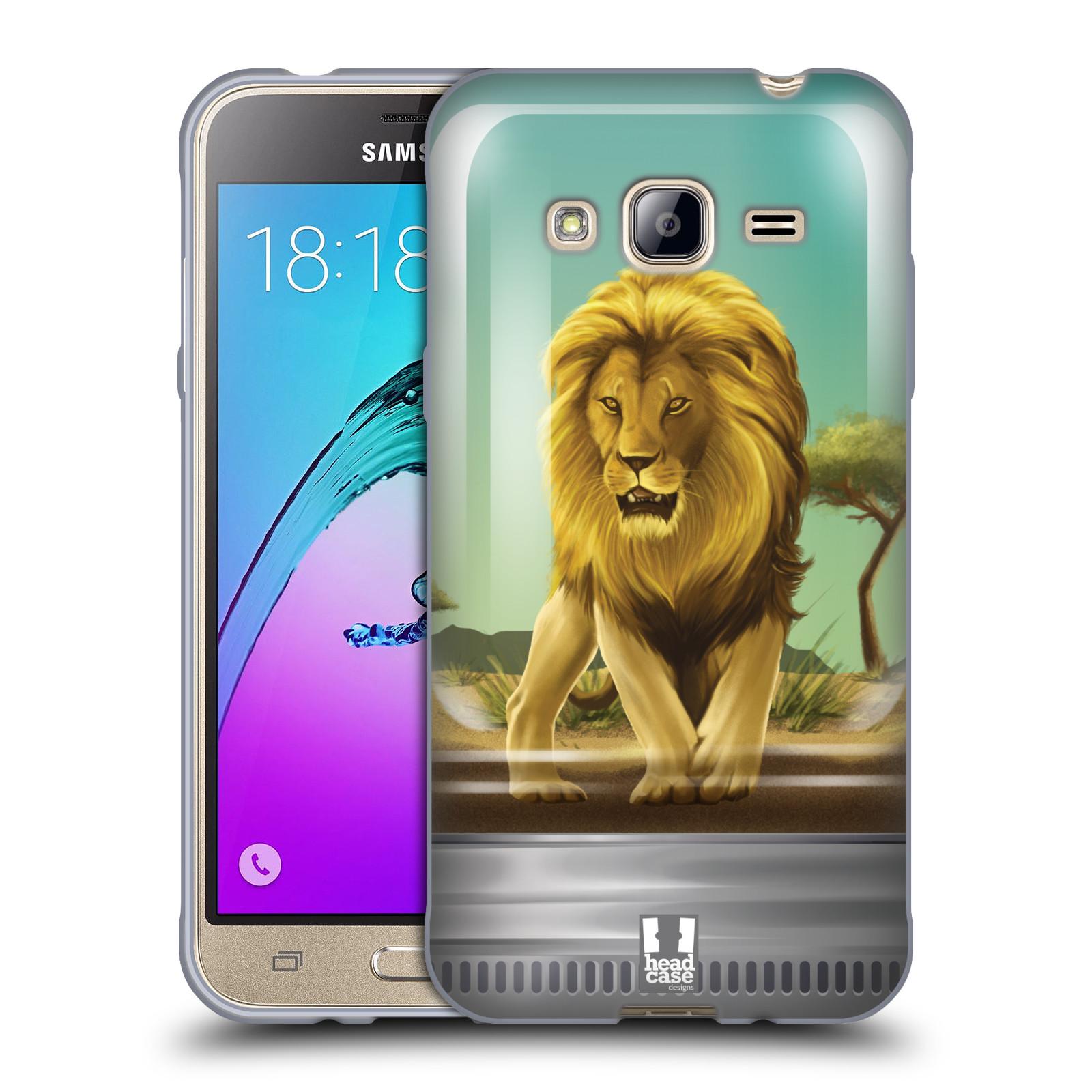 HEAD CASE silikonový obal na mobil Samsung Galaxy J3, J3 2016 vzor Zvířátka v těžítku lev