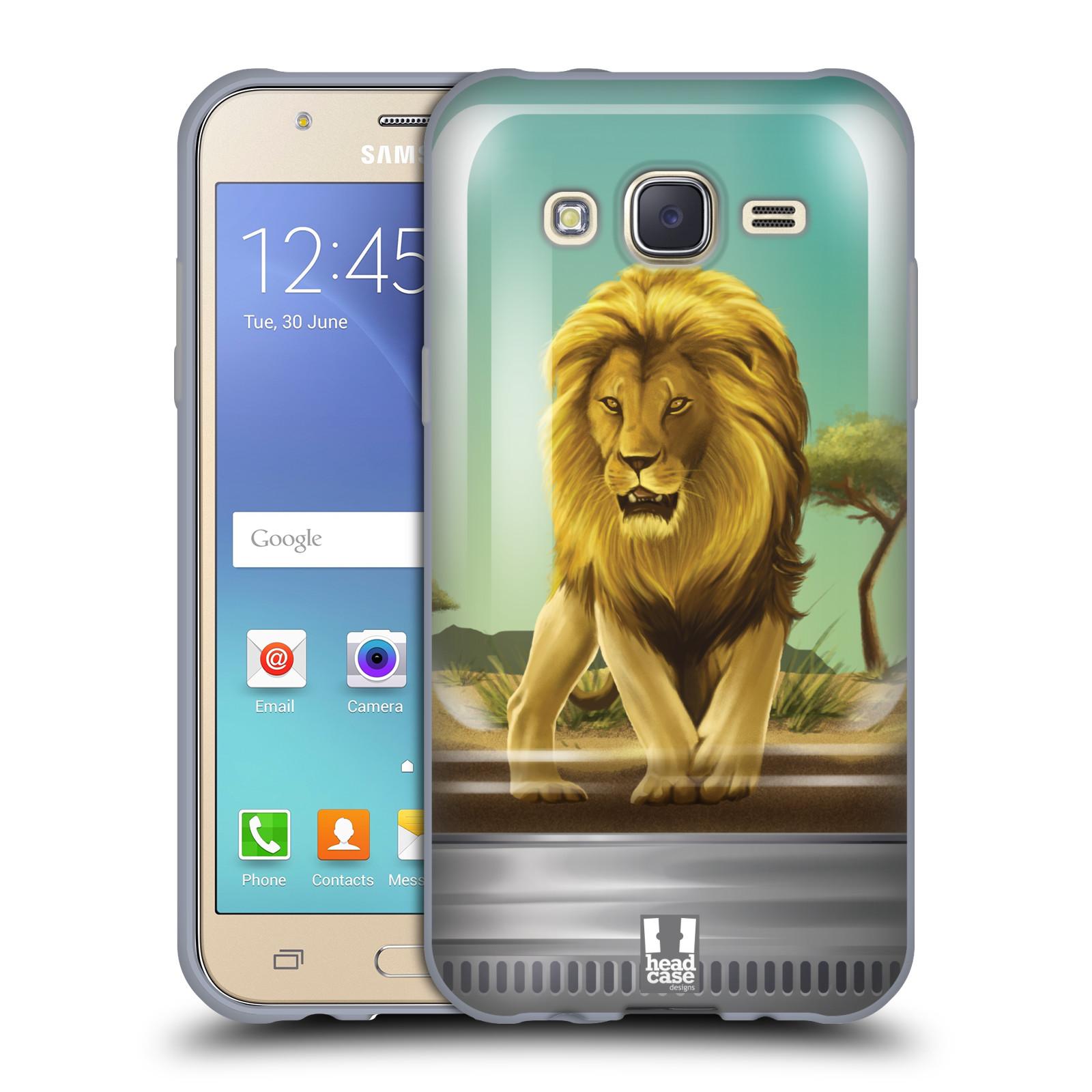HEAD CASE silikonový obal na mobil Samsung Galaxy J5, J500, (J5 DUOS) vzor Zvířátka v těžítku lev