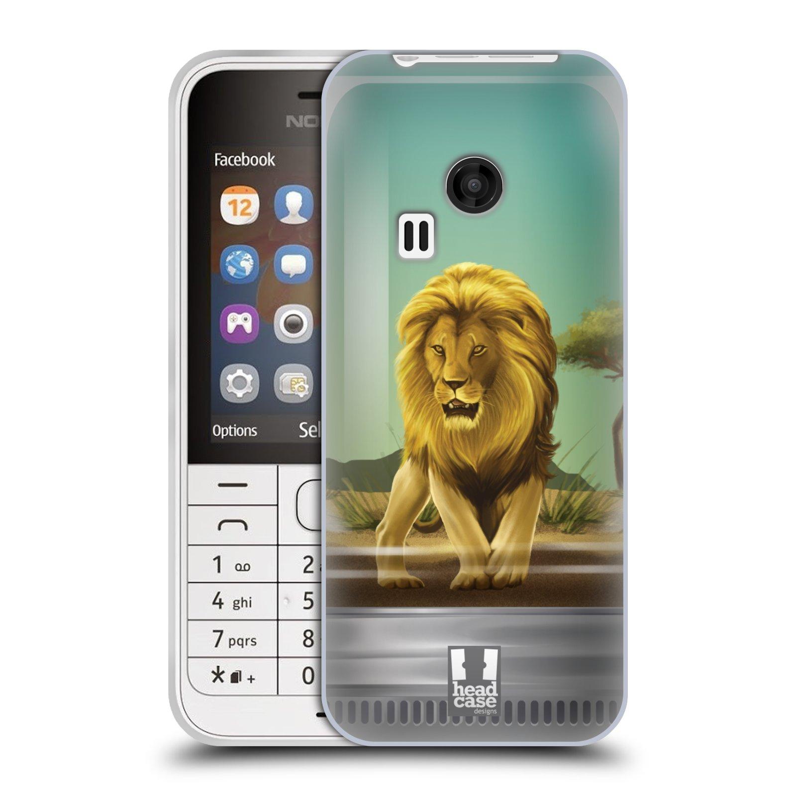 HEAD CASE silikonový obal na mobil NOKIA 220 / NOKIA 220 DUAL SIM vzor Zvířátka v těžítku lev
