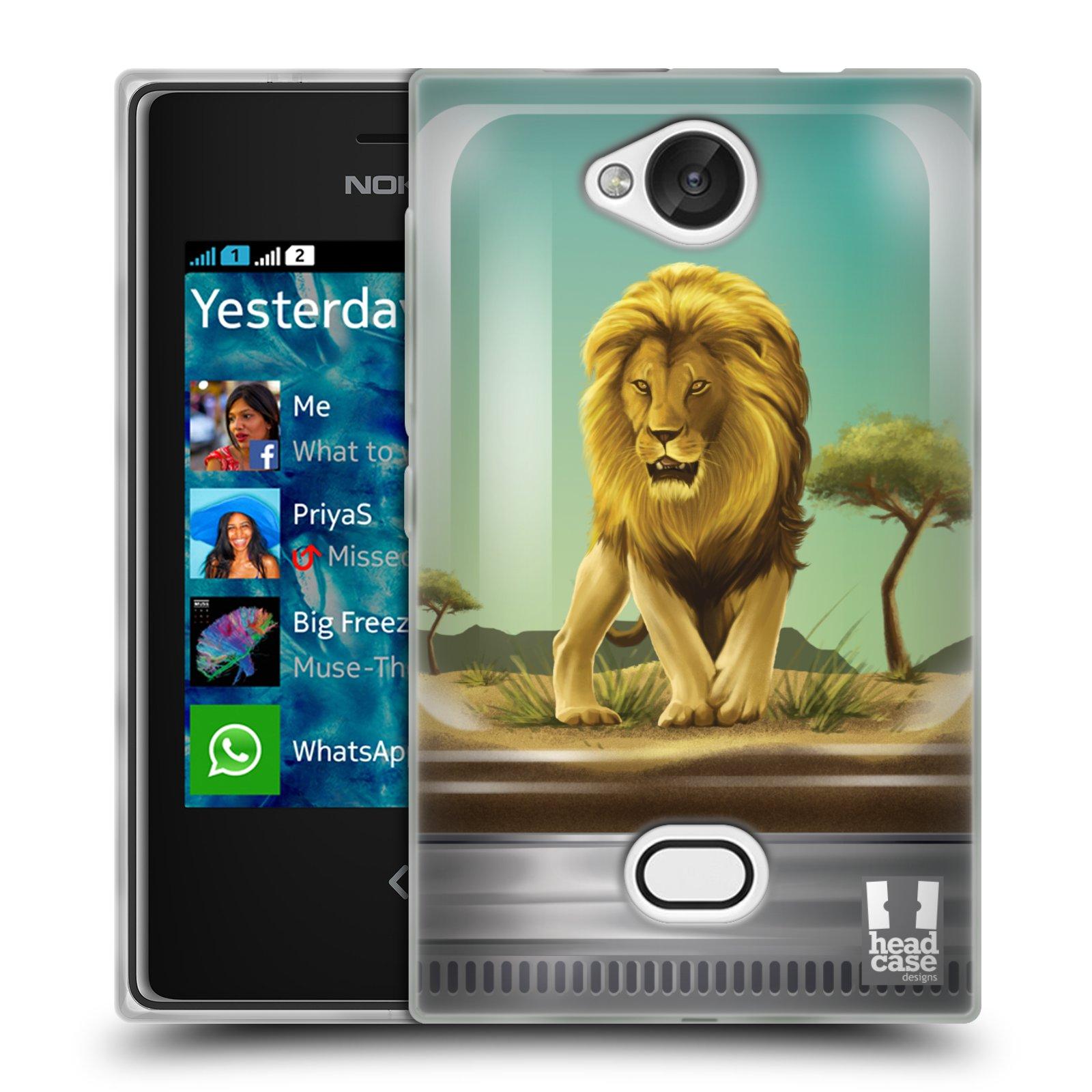 HEAD CASE silikonový obal na mobil NOKIA Asha 503 vzor Zvířátka v těžítku lev