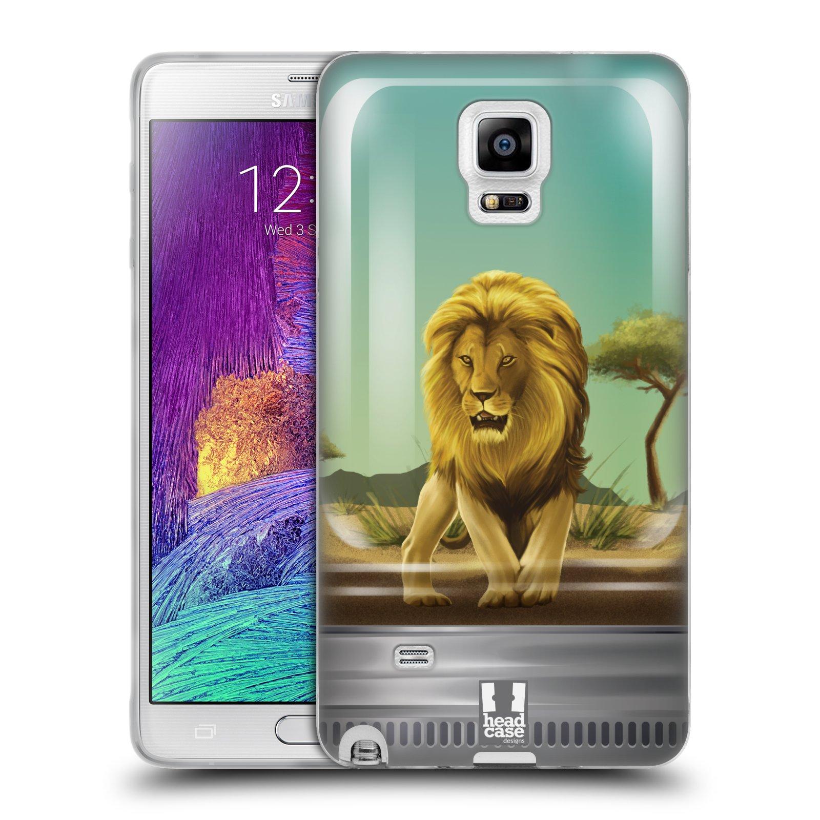 HEAD CASE silikonový obal na mobil Samsung Galaxy Note 4 (N910) vzor Zvířátka v těžítku lev