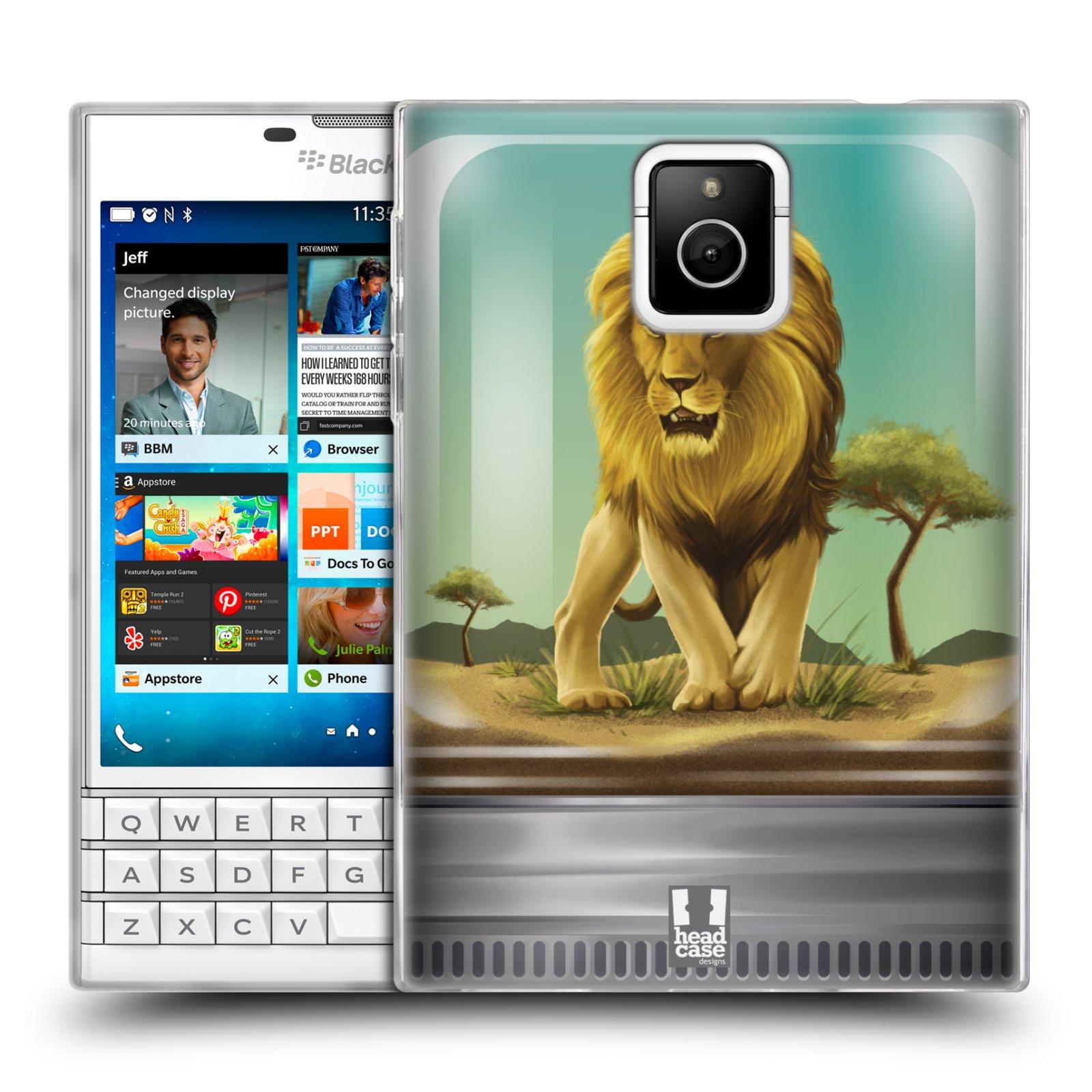 HEAD CASE silikonový obal na mobil Blackberry PASSPORT vzor Zvířátka v těžítku lev