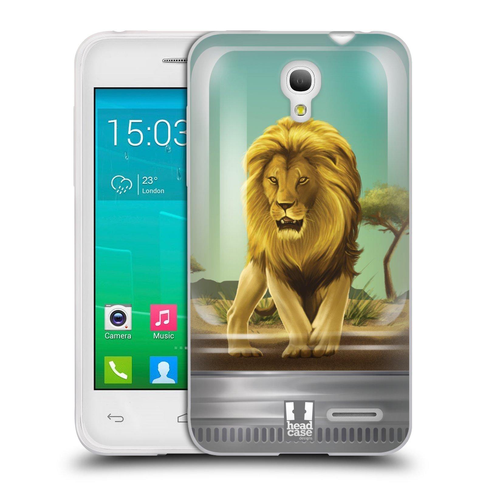 HEAD CASE silikonový obal na mobil Alcatel POP S3 OT-5050Y vzor Zvířátka v těžítku lev