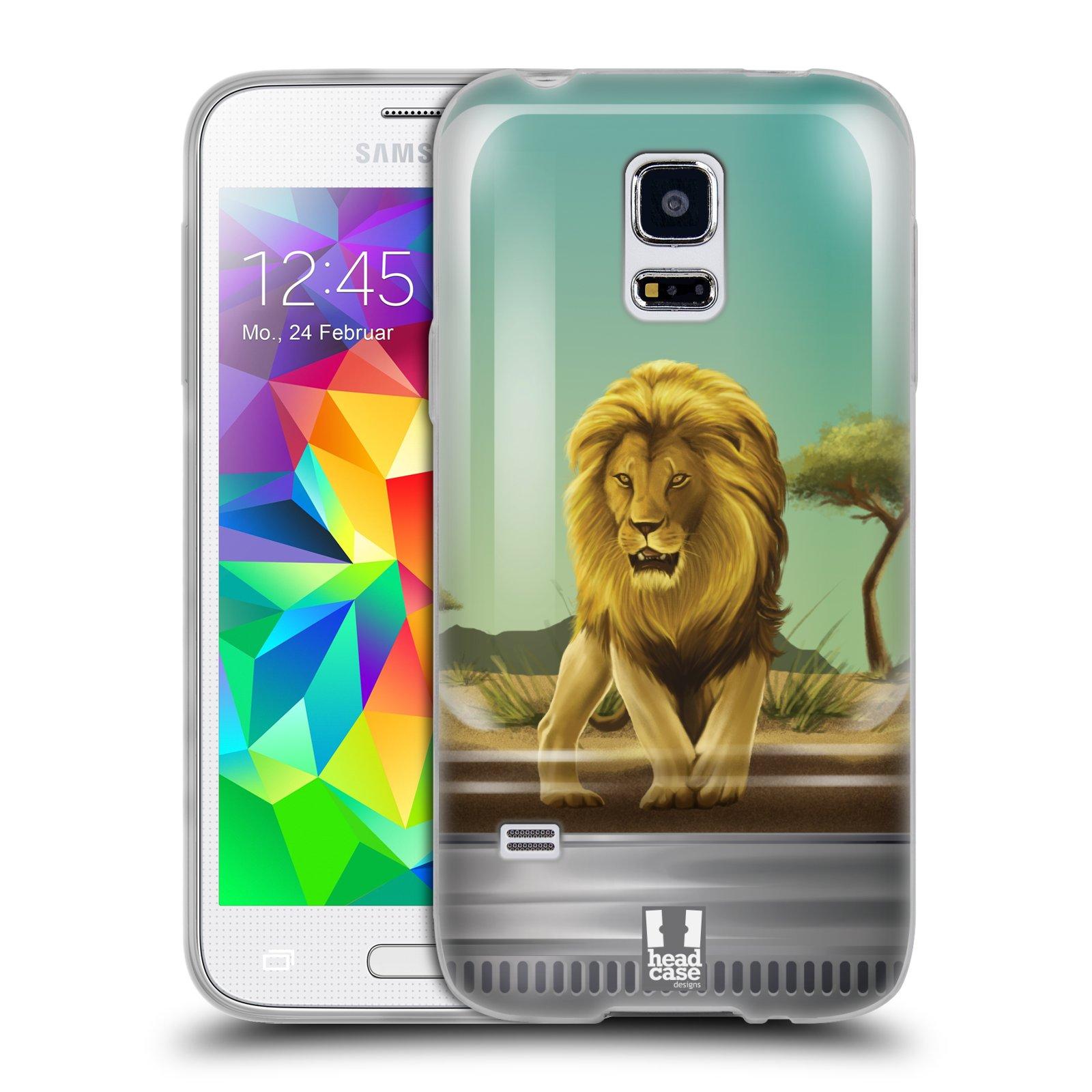 HEAD CASE silikonový obal na mobil Samsung Galaxy S5 MINI vzor Zvířátka v těžítku lev