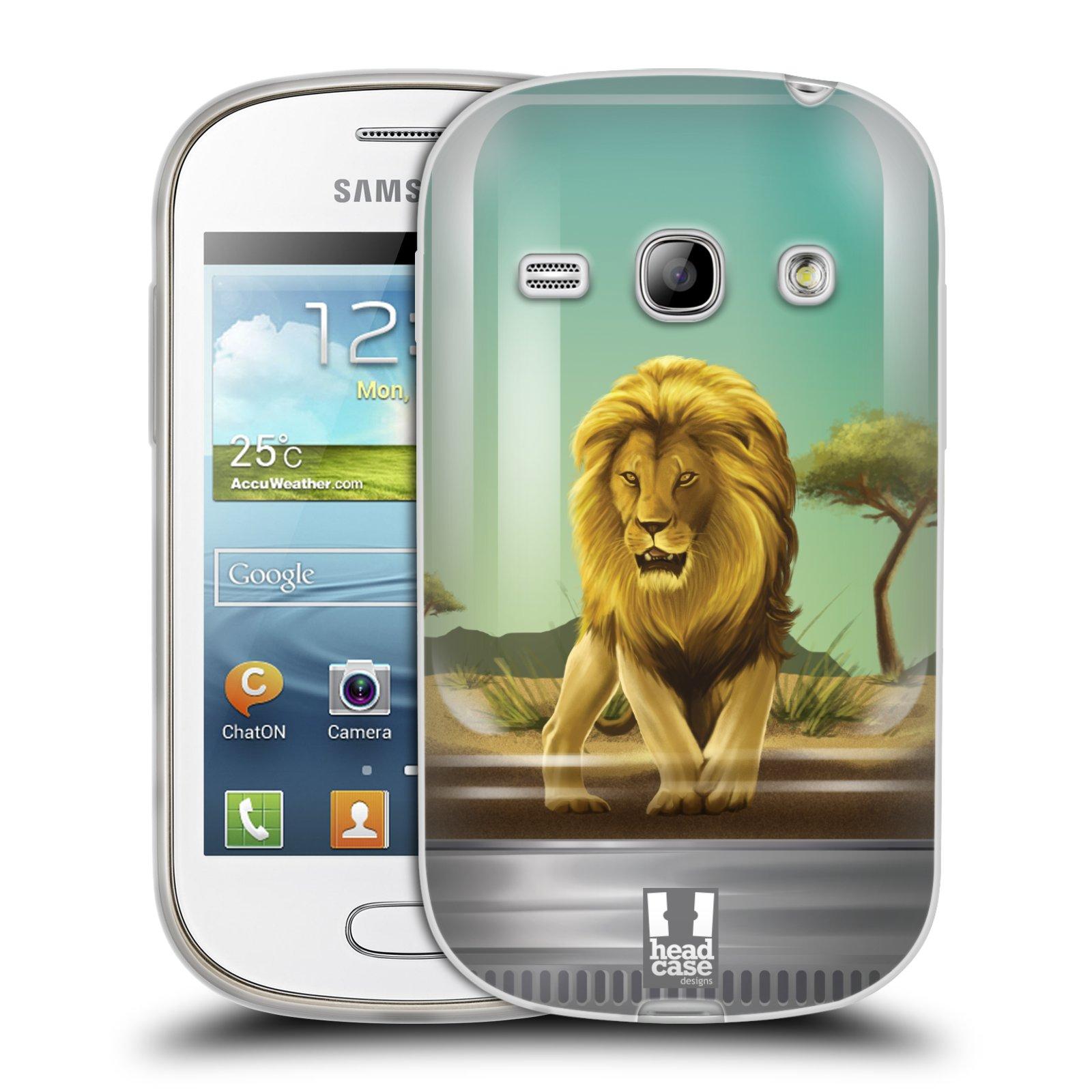HEAD CASE silikonový obal na mobil Samsung Galaxy FAME vzor Zvířátka v těžítku lev