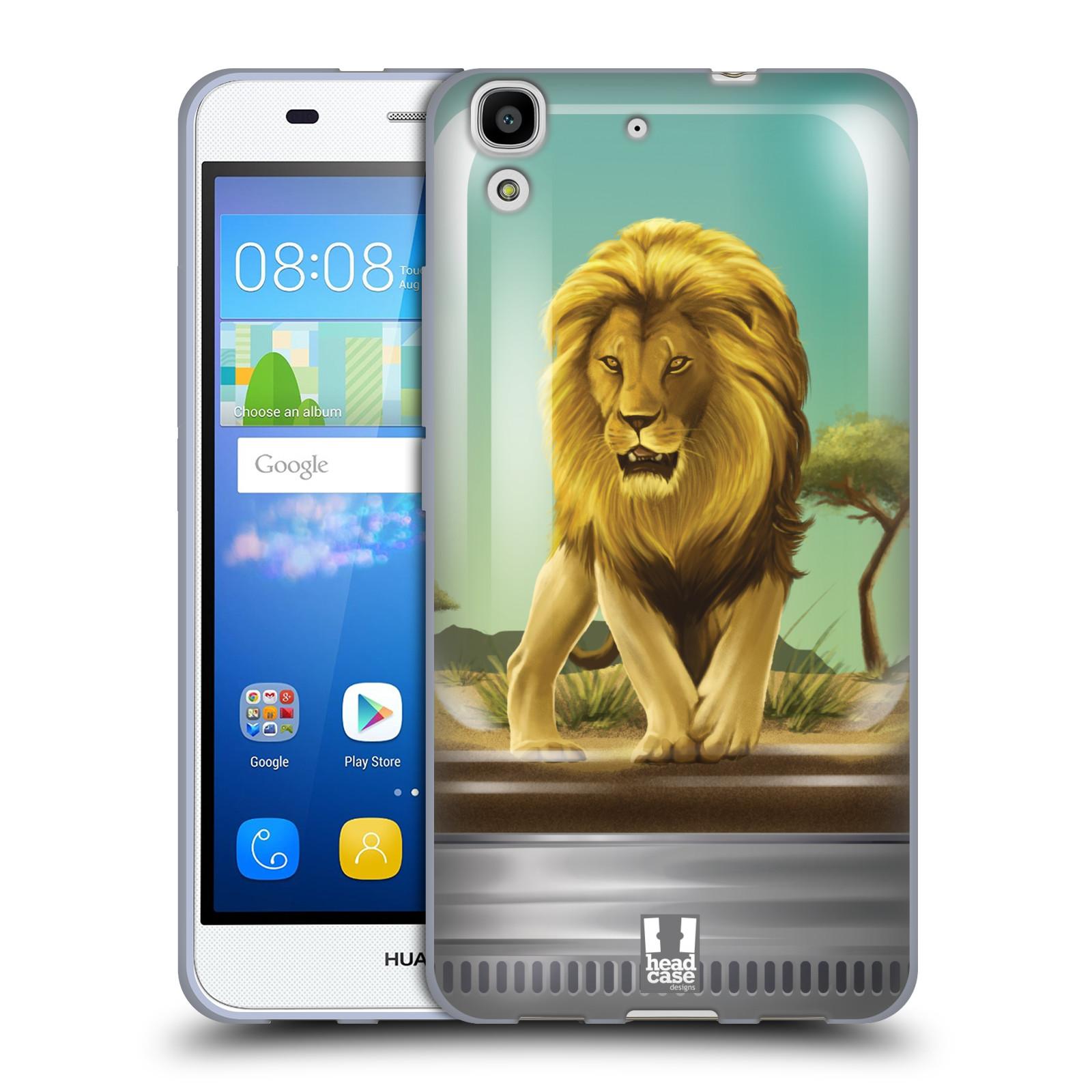 HEAD CASE silikonový obal na mobil HUAWEI Y6 vzor Zvířátka v těžítku lev