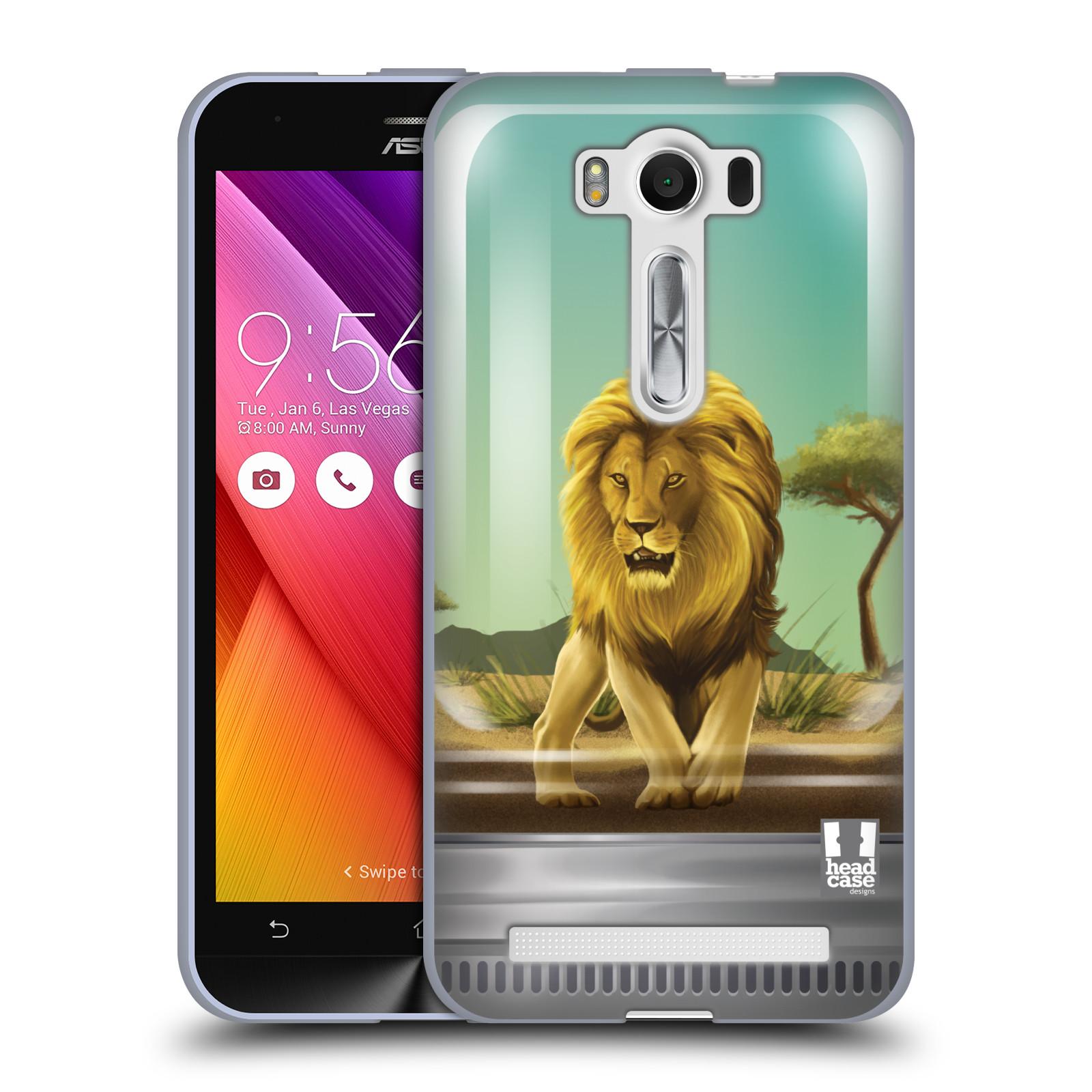 """HEAD CASE silikonový obal na mobil Asus Zenfone 2 LASER (ZE500KL s 5"""" displejem) vzor Zvířátka v těžítku lev"""