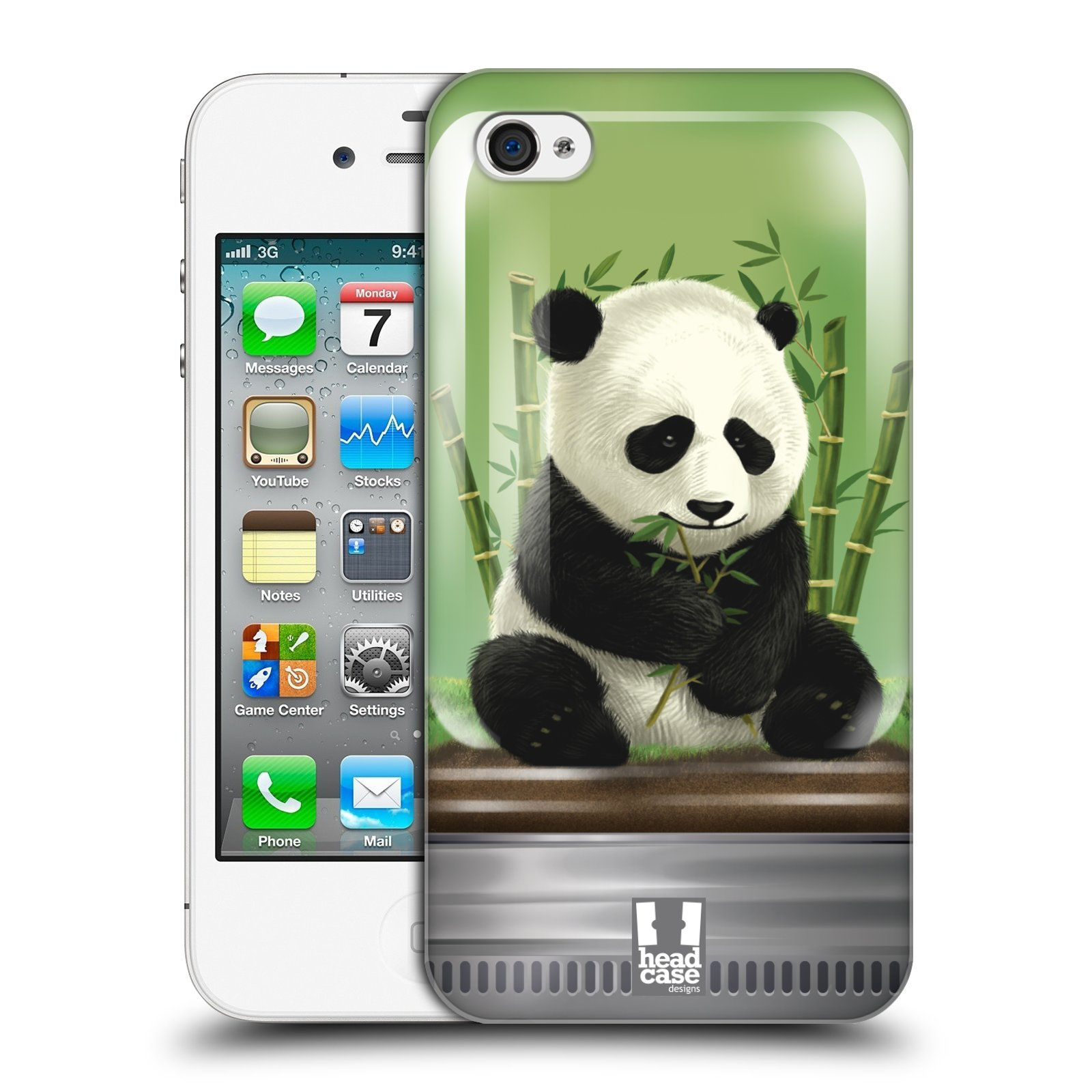 HEAD CASE plastový obal na mobil Apple Iphone 4/4S vzor Zvířátka v těžítku panda