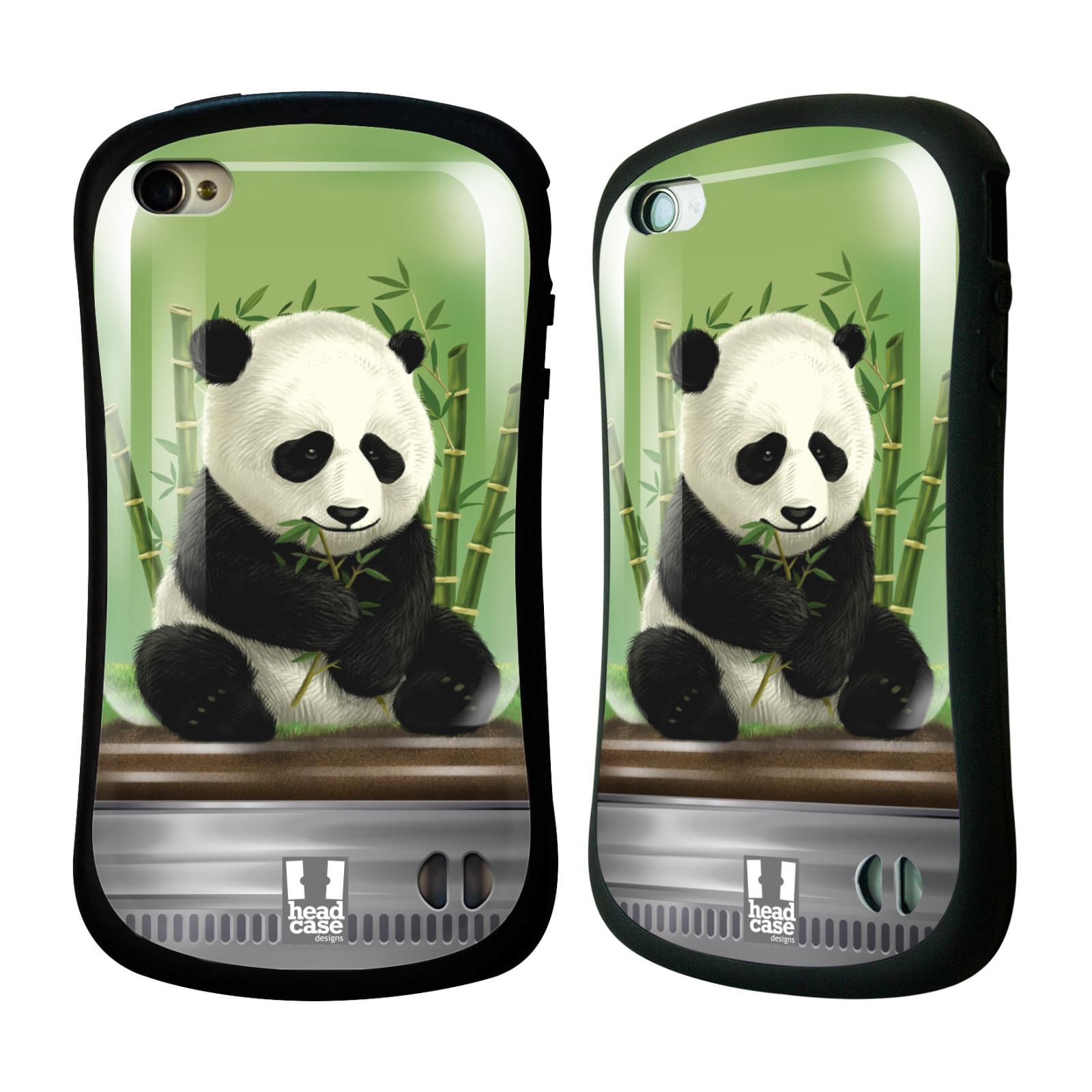 HEAD CASE silikon/plast odolný obal na mobil Apple Iphone 4/4S vzor Zvířátka v těžítku panda