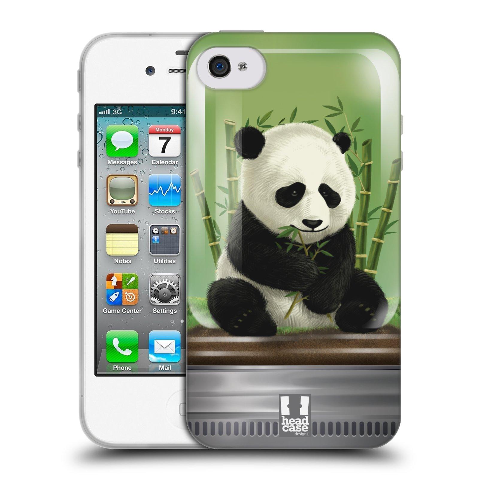HEAD CASE silikonový obal na mobil Apple Iphone 4/4S vzor Zvířátka v těžítku panda