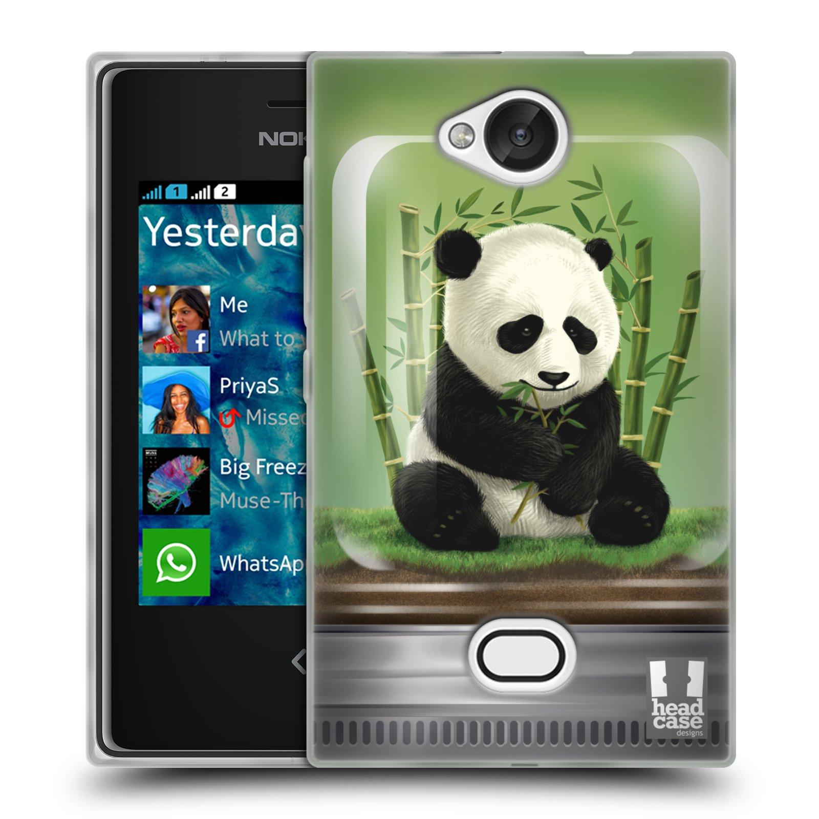 HEAD CASE silikonový obal na mobil NOKIA Asha 503 vzor Zvířátka v těžítku panda