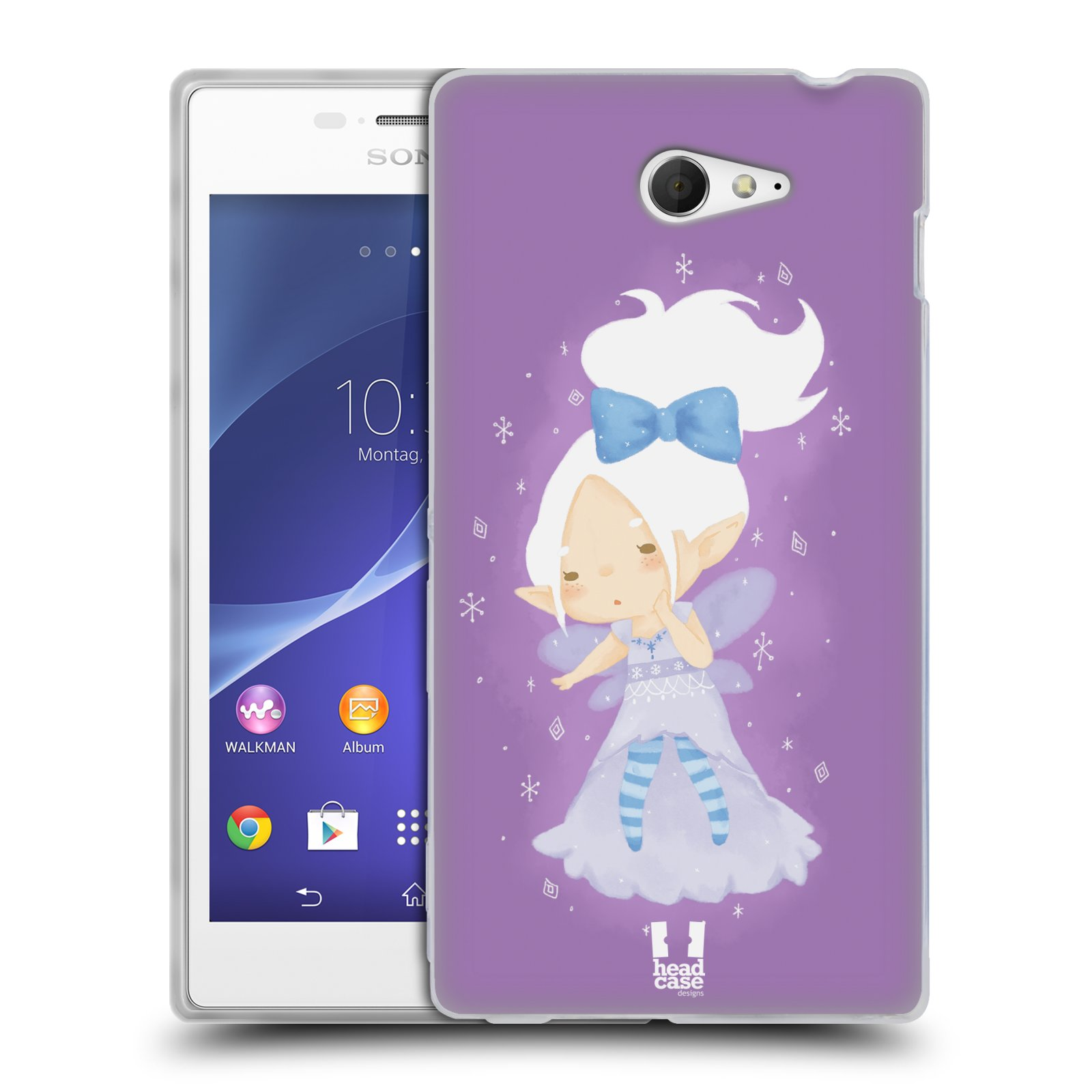 HEAD CASE WINTER PIXIES SILICONE GEL CASE FOR SONY XPERIA M2