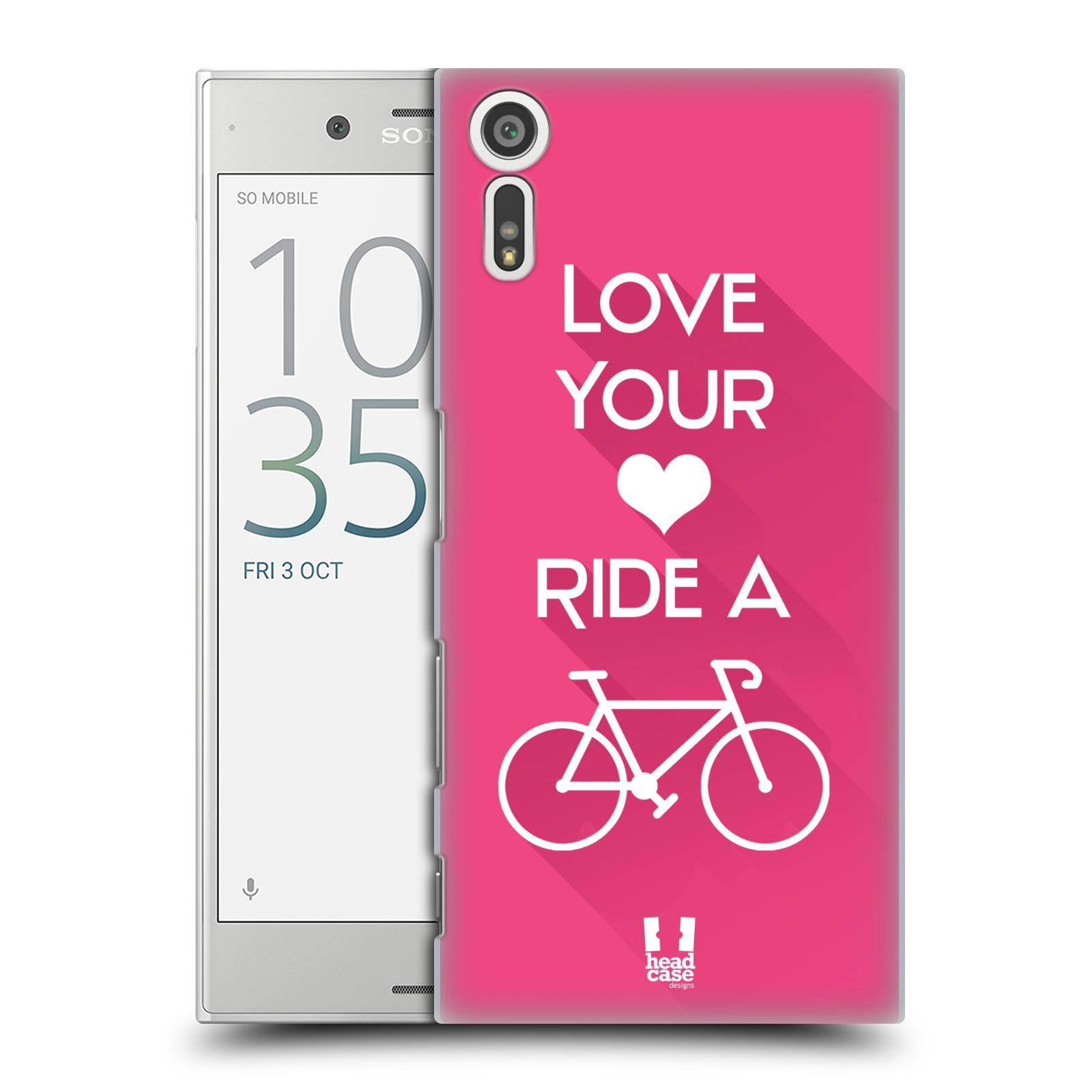 HEAD CASE plastový obal na mobil Sony Xperia XZ Cyklista růžové pozadí kolo sport