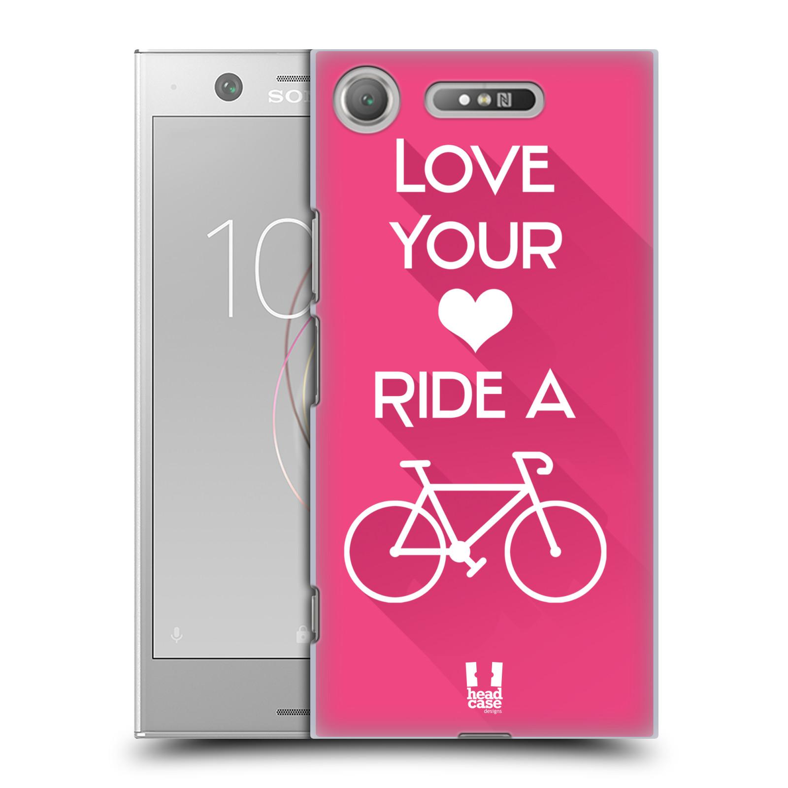 HEAD CASE plastový obal na mobil Sony Xperia XZ1 Cyklista růžové pozadí kolo sport