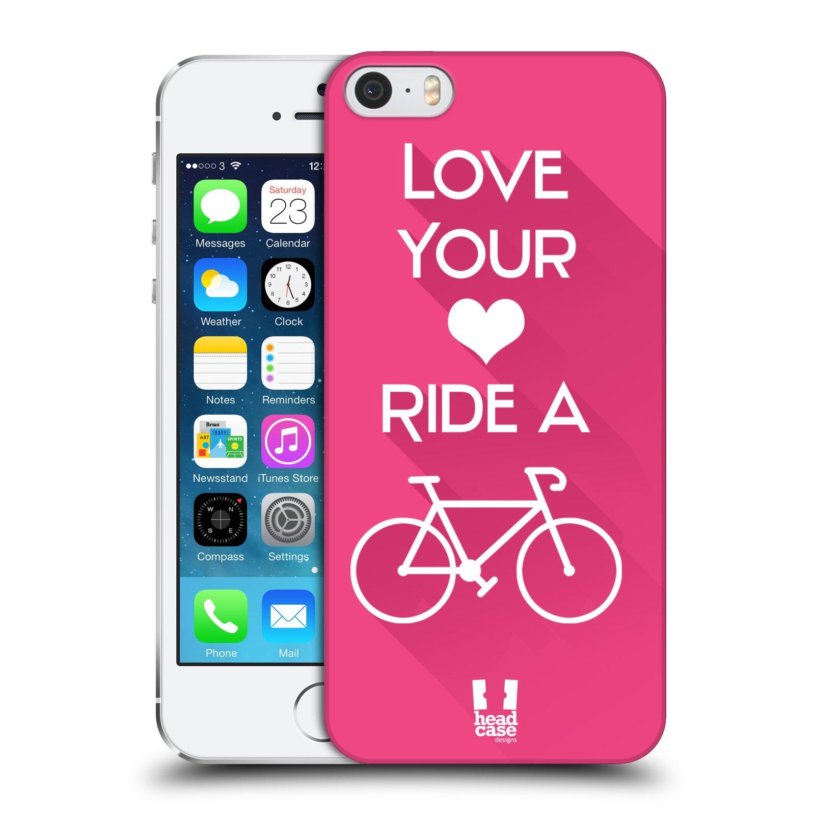 Plastové pouzdro pro mobil Apple Iphone 5 / 5S / SE Cyklista růžové pozadí kolo sport