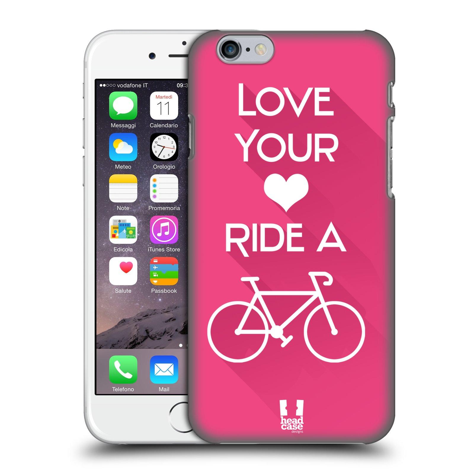 Plastové pouzdro pro mobil Apple Iphone 6/6S Cyklista růžové pozadí kolo sport