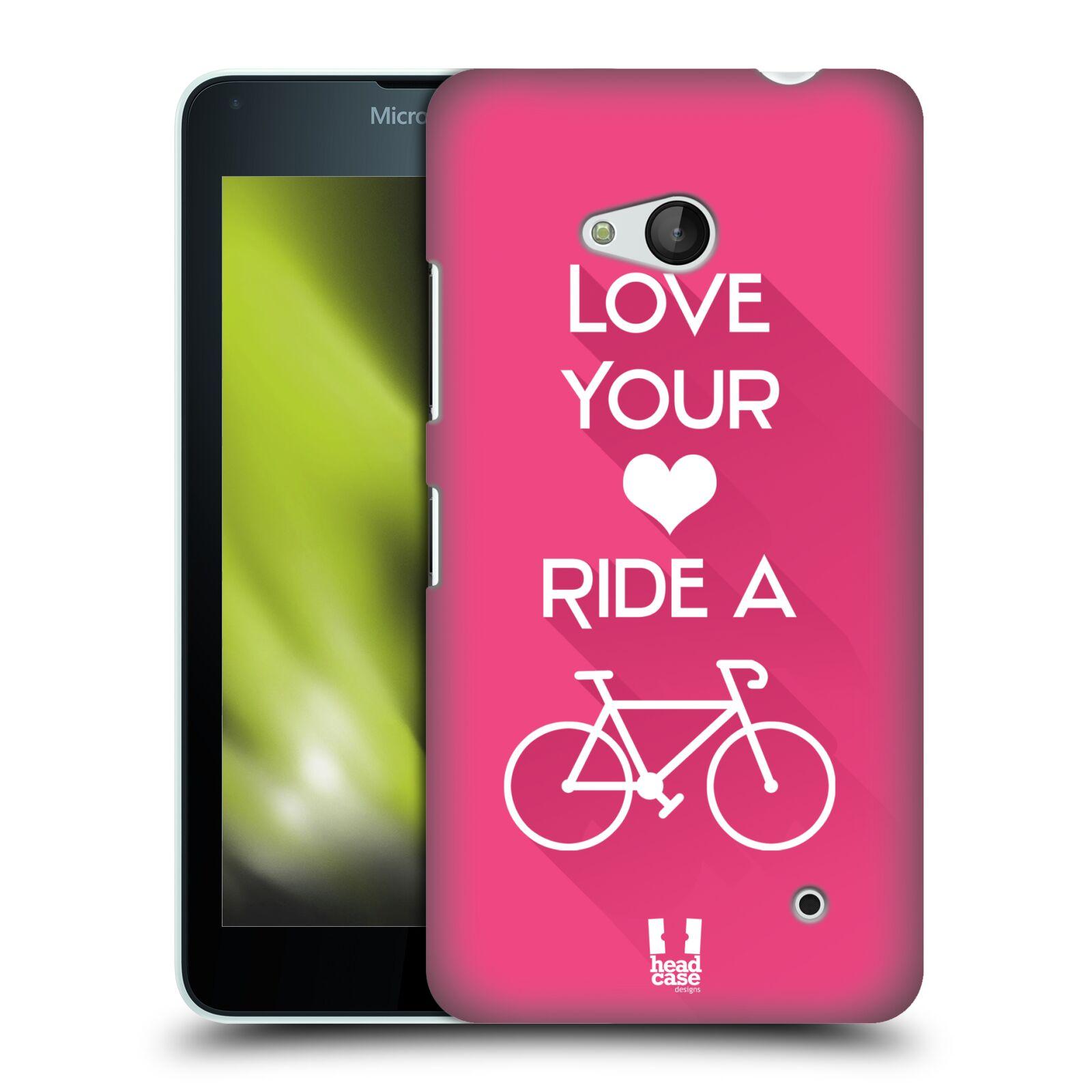 HEAD CASE plastový obal na mobil Nokia Lumia 640 Cyklista růžové pozadí kolo sport