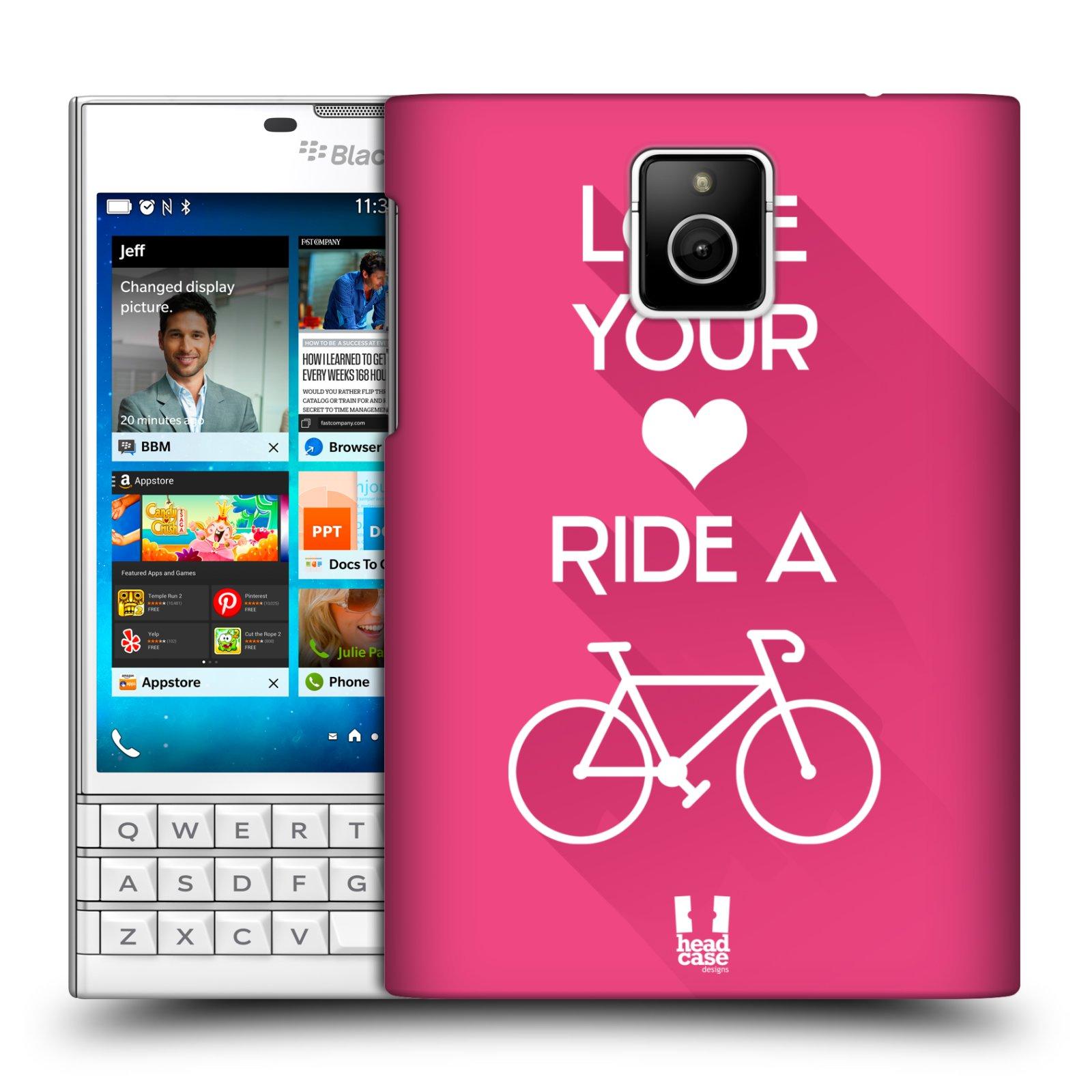 HEAD CASE plastový obal na mobil BlackBerry Passport Cyklista růžové pozadí kolo sport