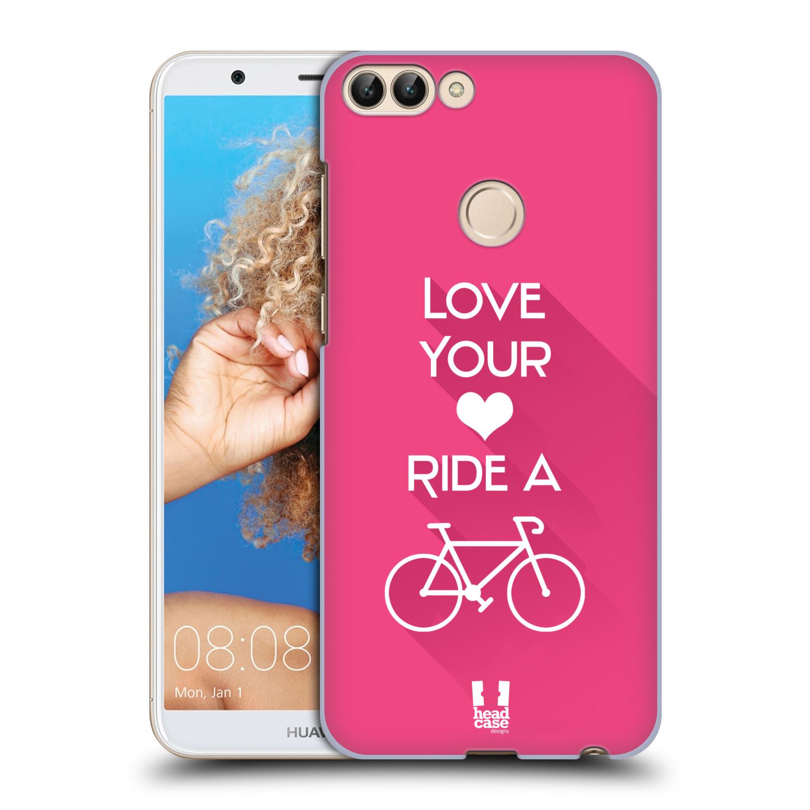 HEAD CASE plastový obal na mobil Huawei P Smart Cyklista růžové pozadí kolo sport