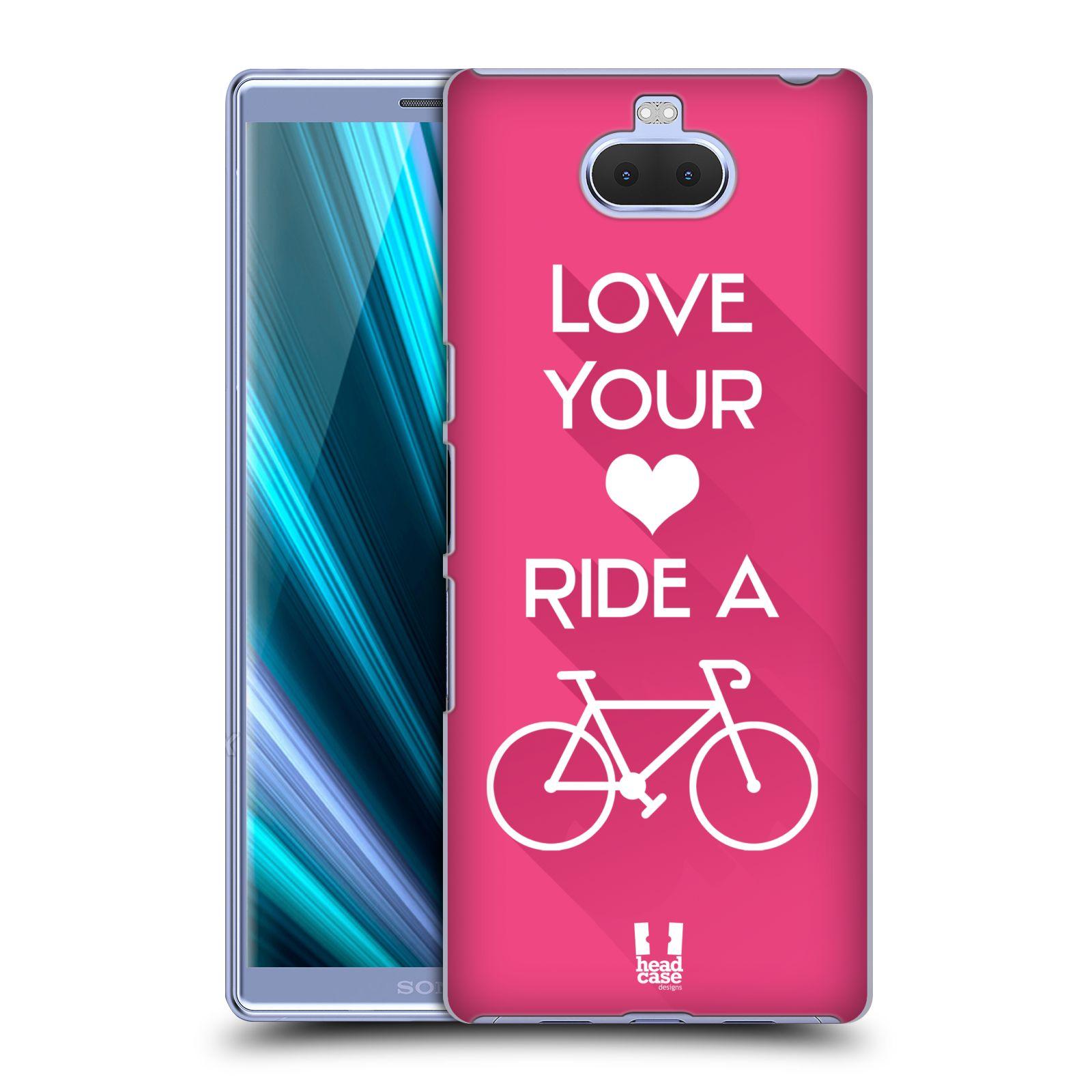 Pouzdro na mobil Sony Xperia 10 - Head Case - Cyklista růžové pozadí kolo sport