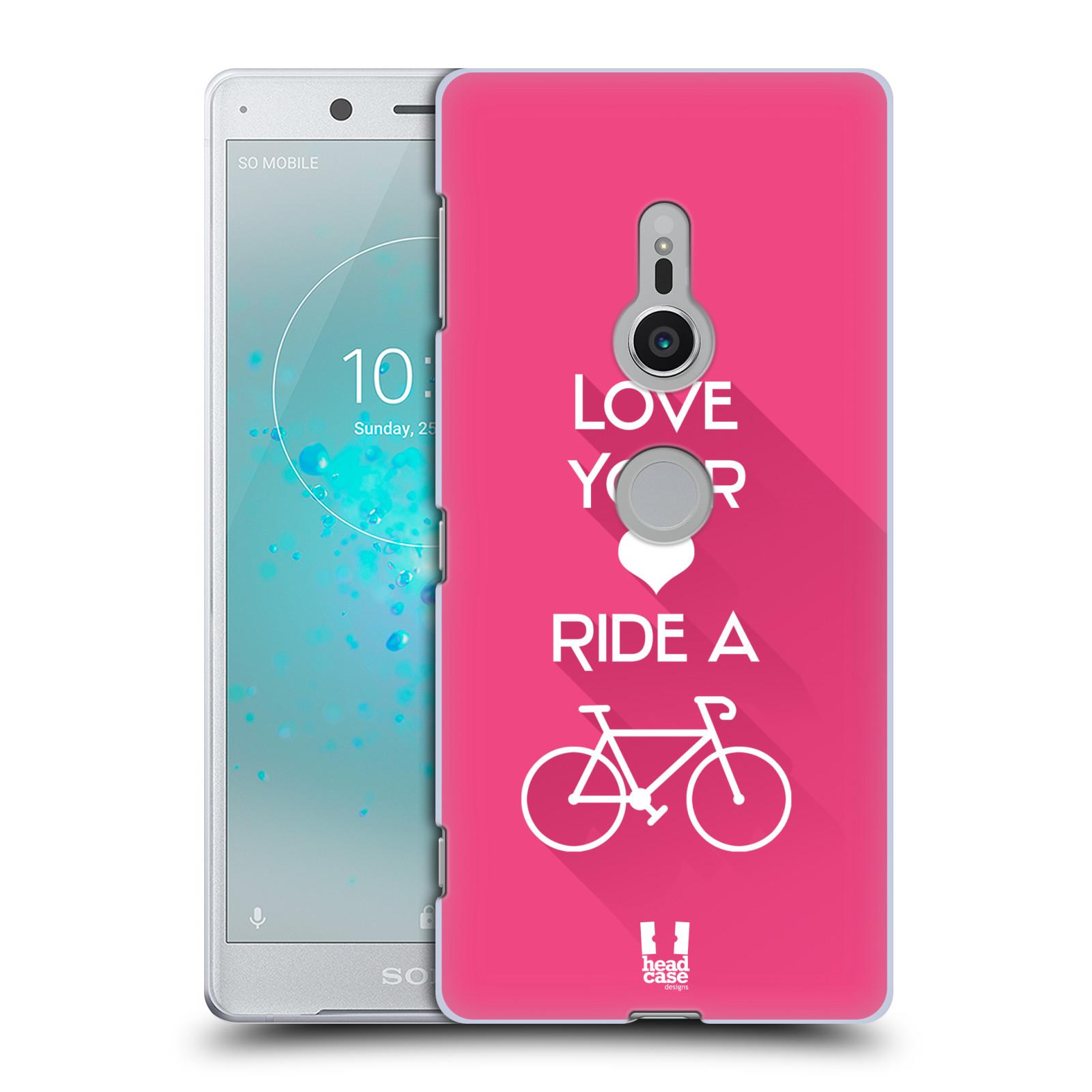 HEAD CASE plastový obal na mobil Sony Xperia XZ2 Cyklista růžové pozadí kolo sport