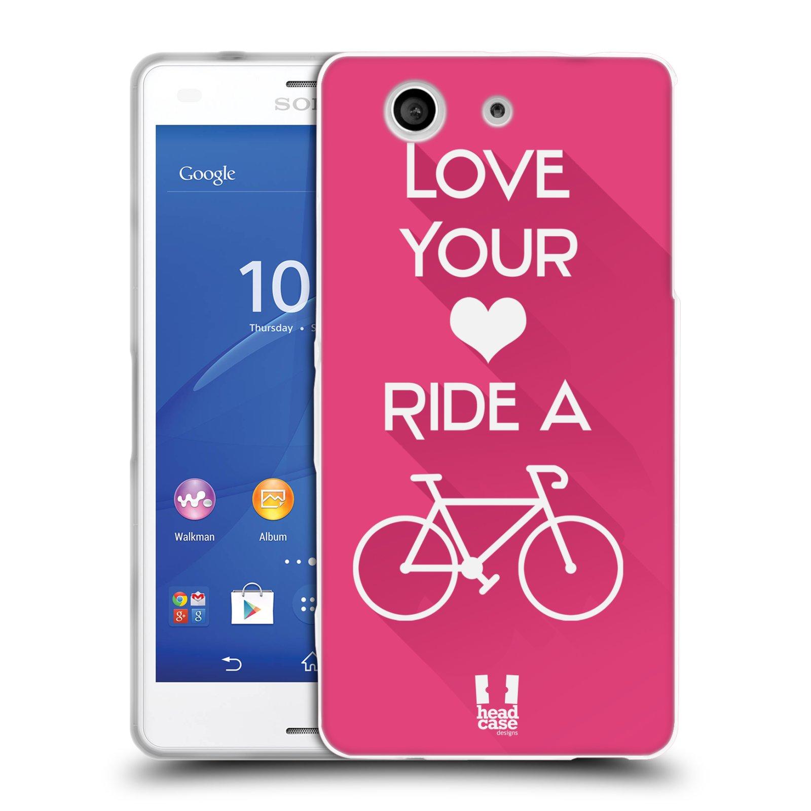 HEAD CASE silikonový obal na mobil Sony Xperia Z3 COMPACT Cyklista růžové pozadí kolo sport