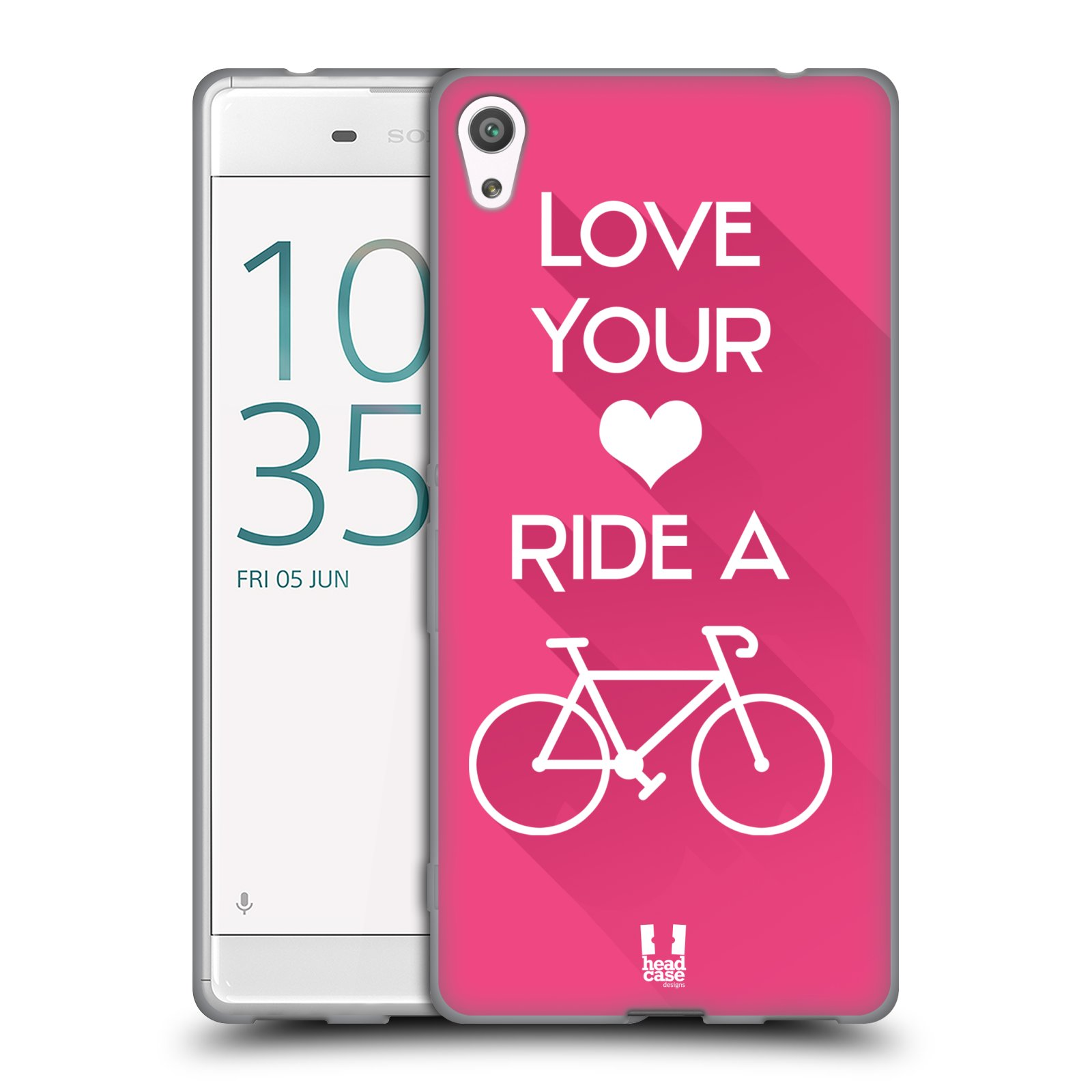 HEAD CASE silikonový obal na mobil Sony Xperia XA ULTRA Cyklista růžové pozadí kolo sport