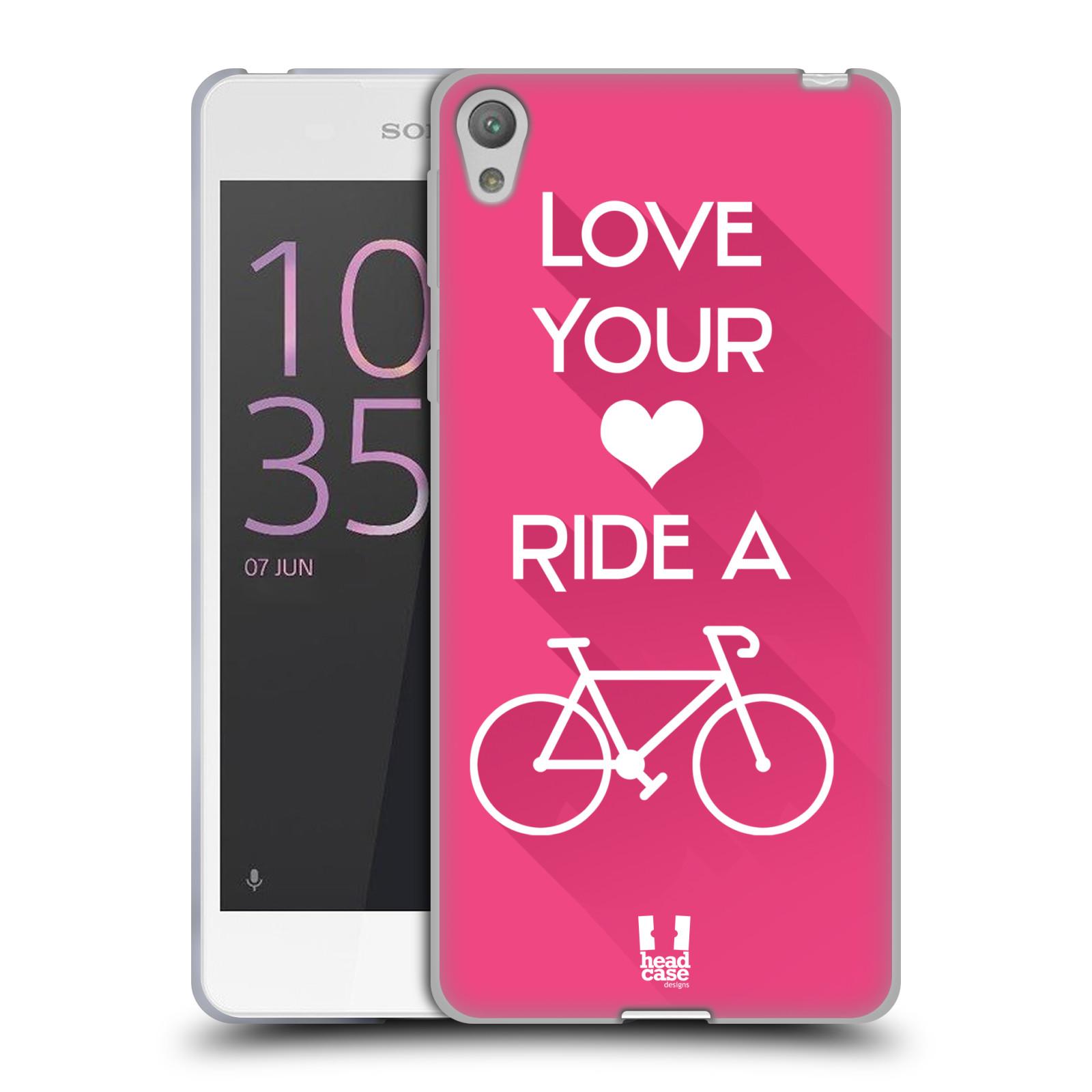 HEAD CASE silikonový obal na mobil Sony Xperia E5 Cyklista růžové pozadí kolo sport